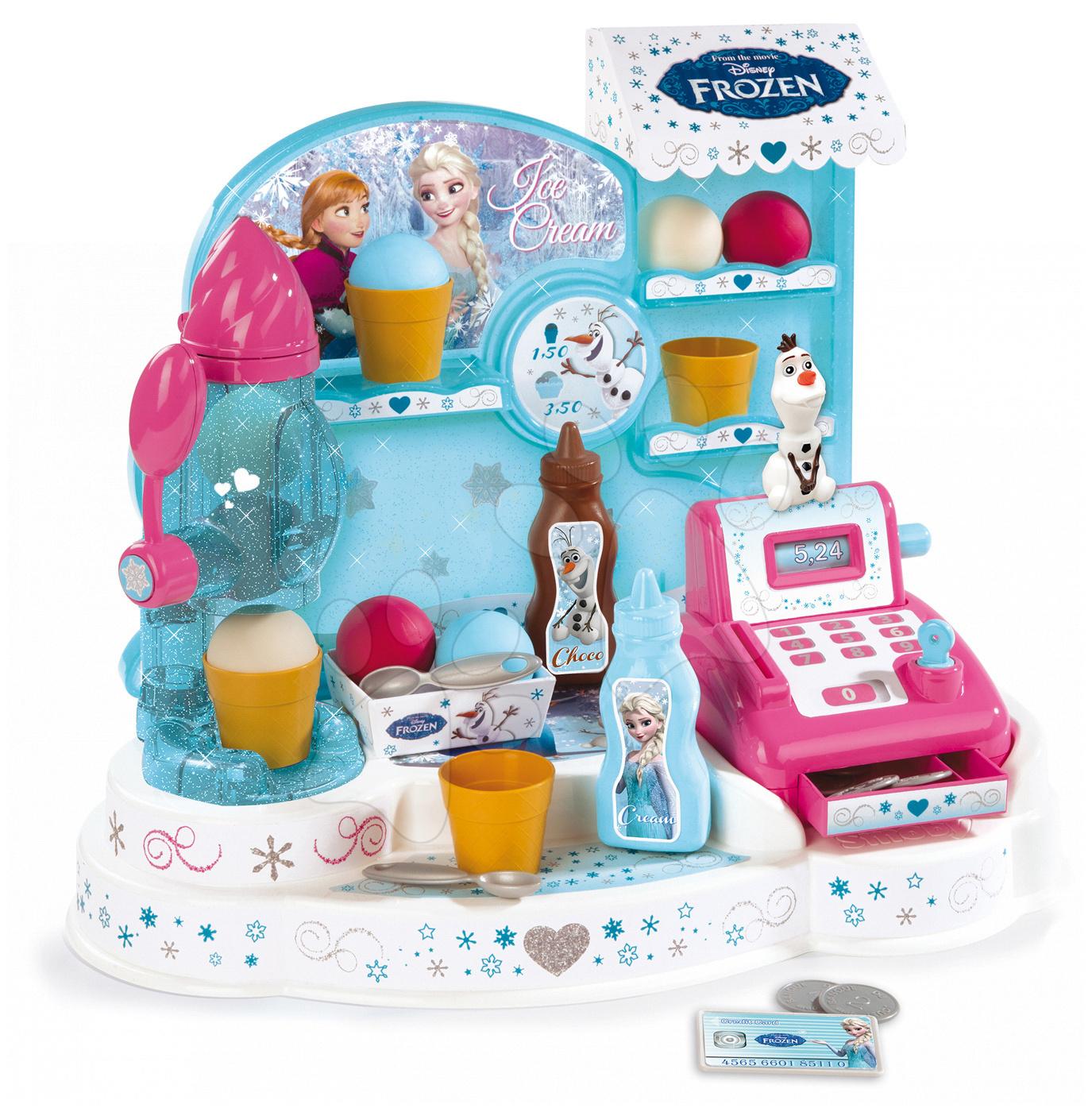 Obchody pre deti - Zmrzlináreň Frozen Smoby s koláčmi, pokladňou a 22 doplnkami trblietavá