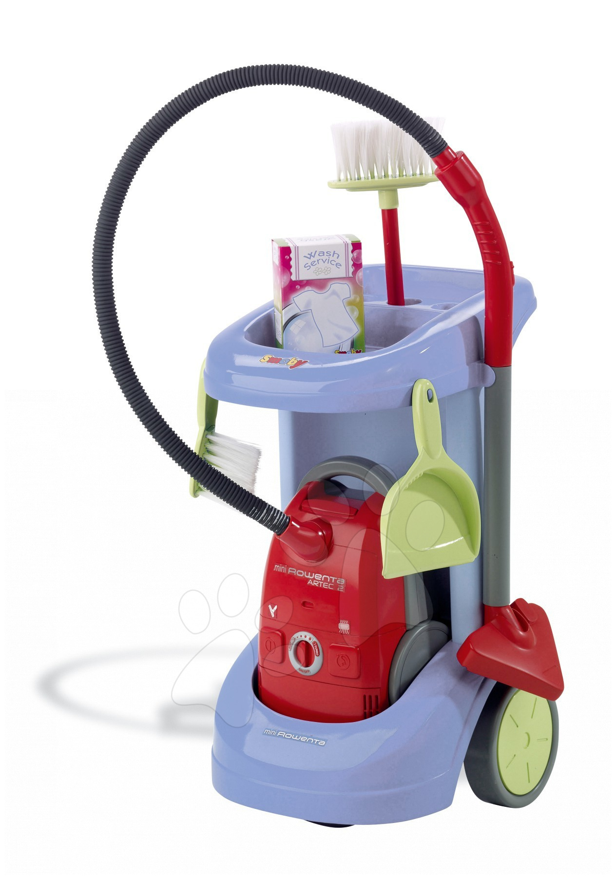 Hry na domácnost - Úklidový vozík Rowenta Smoby s elektronickým vysavačem modrý
