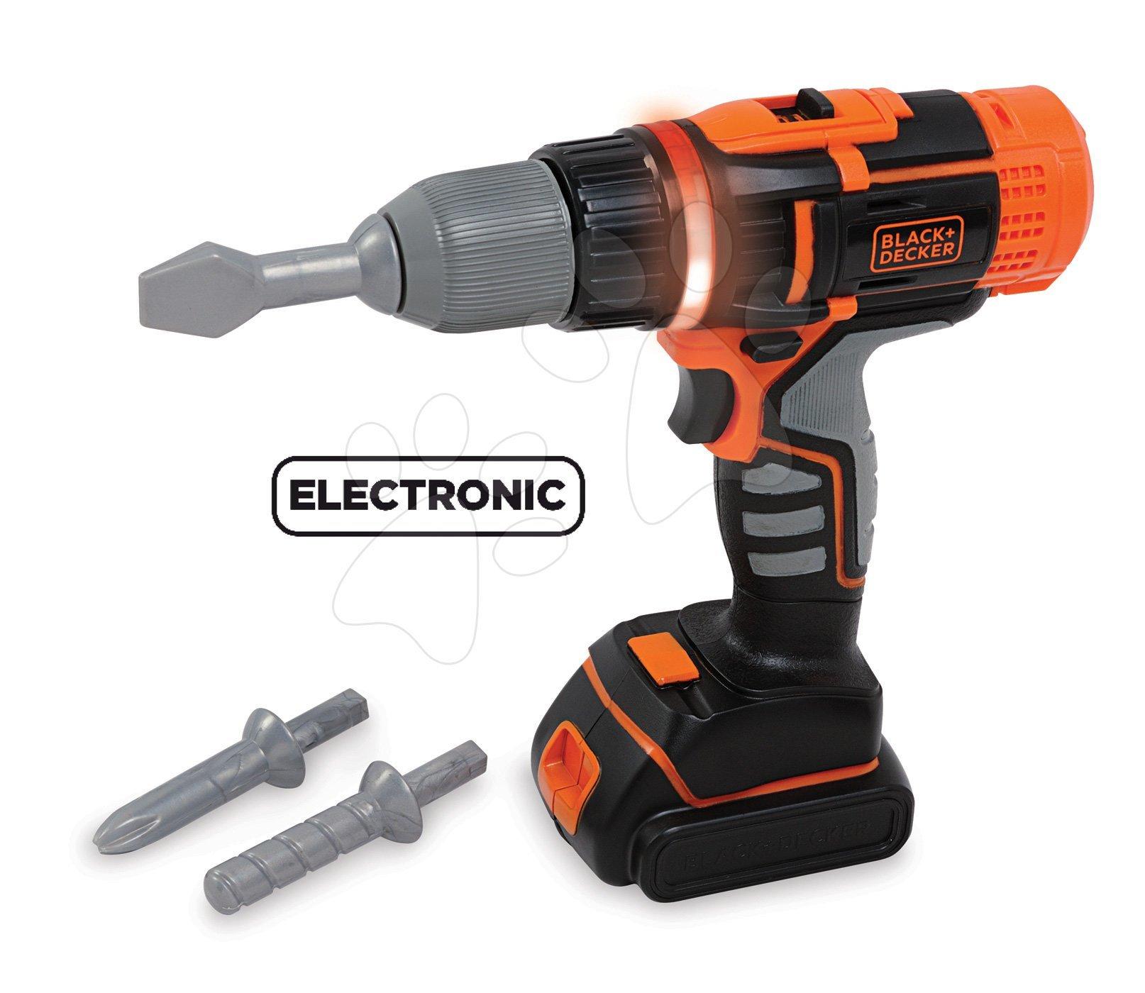 Smoby elektronická vŕtačka Black+Decker 360106 čierno-oranžová