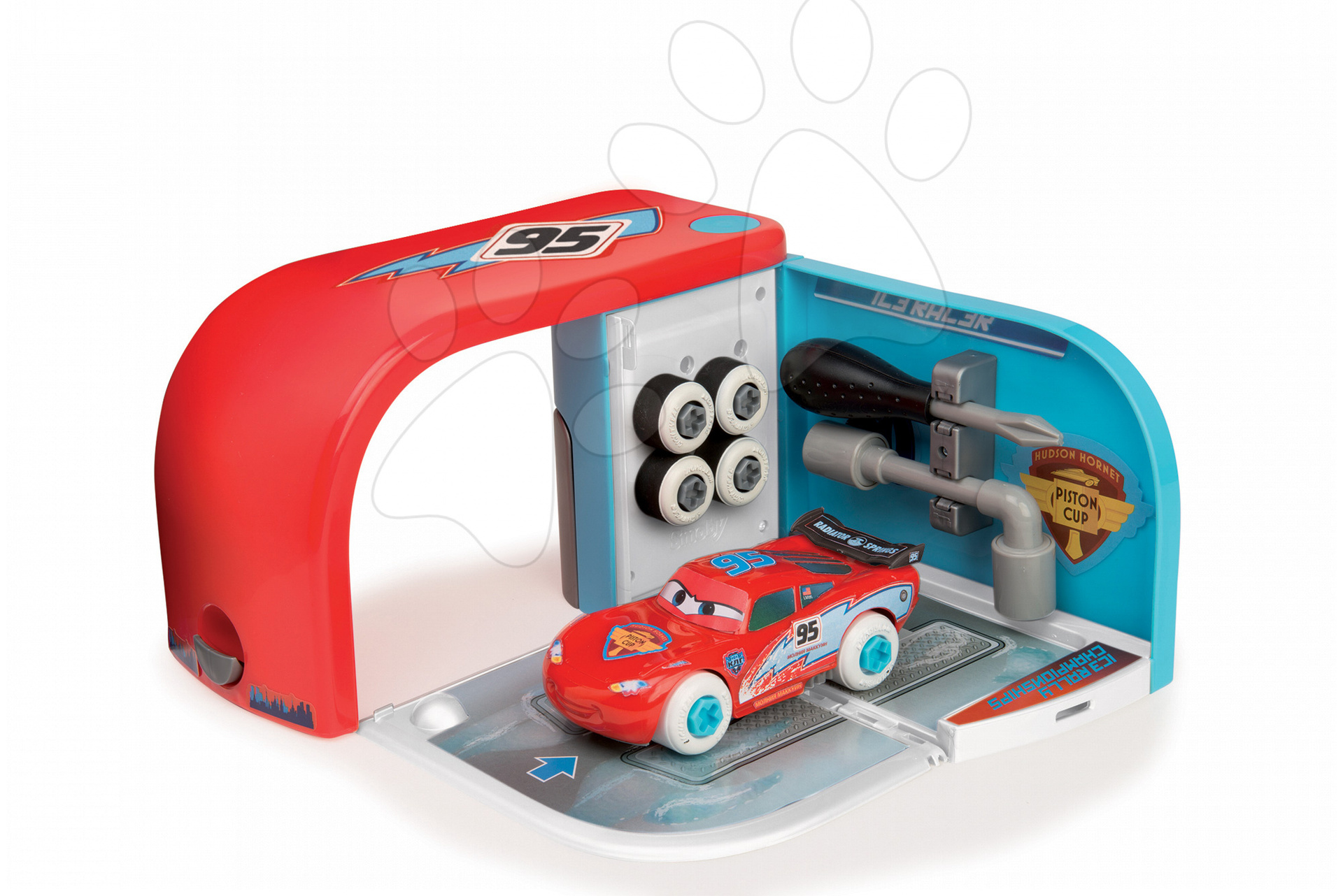 Autoservis s nářadím Auta Ice Smoby s autíčkem McQueen v kufříku