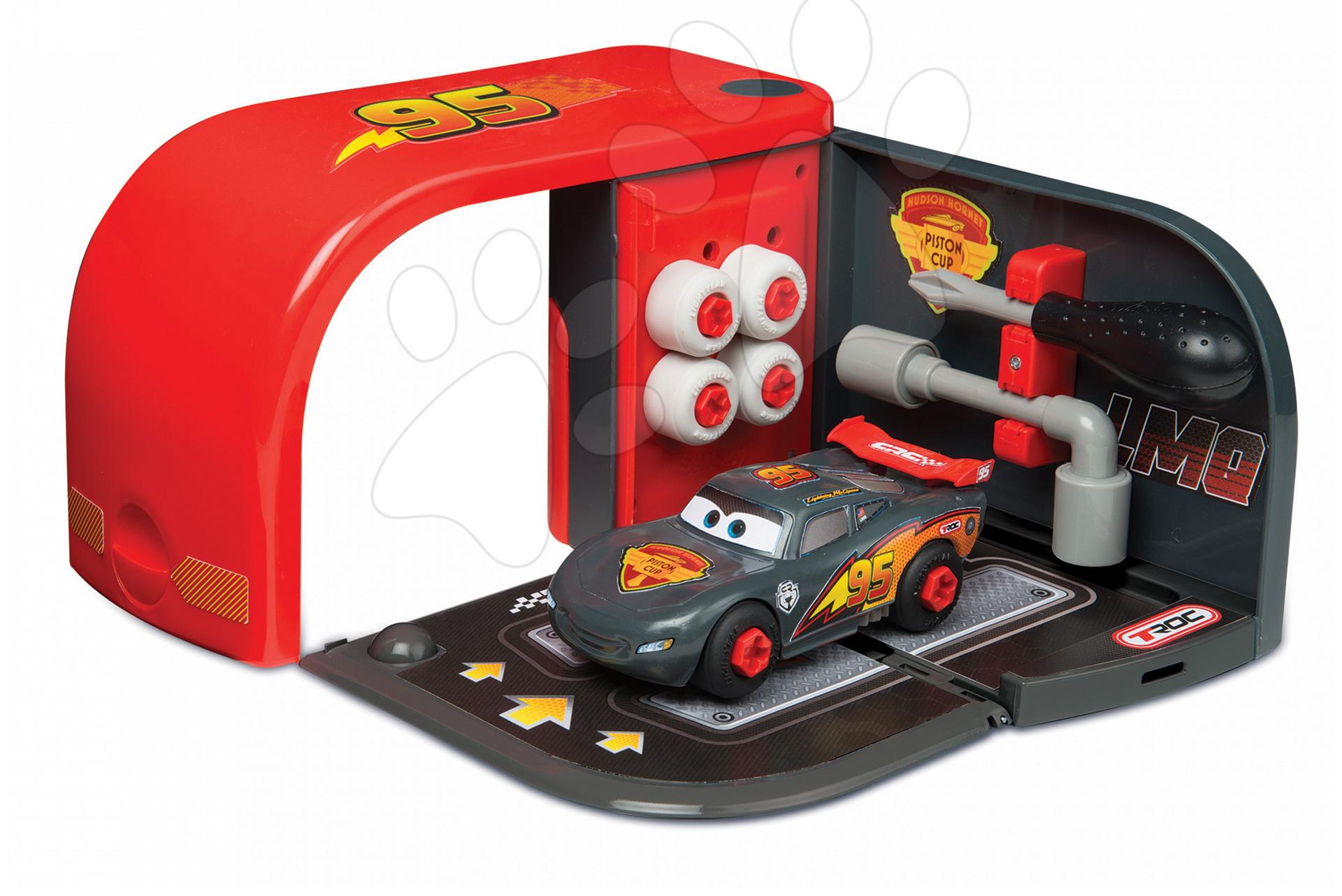 Pracovná detská dielňa - Autoservis Autá Carbon Smoby s náradím a autom McQueen v kufríku