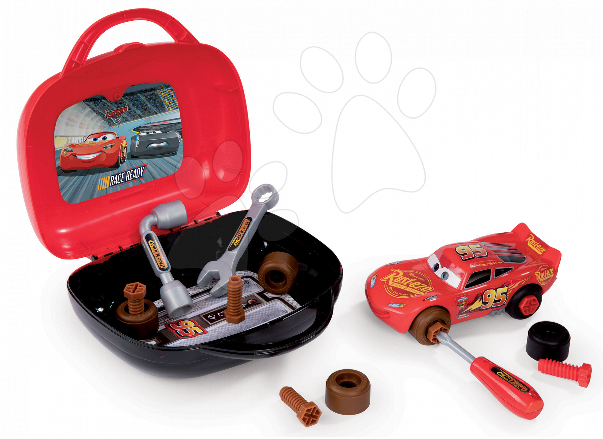 Kufřík s nářadím a skládacím autíčkem Auta 3 Smoby a 24 doplňků