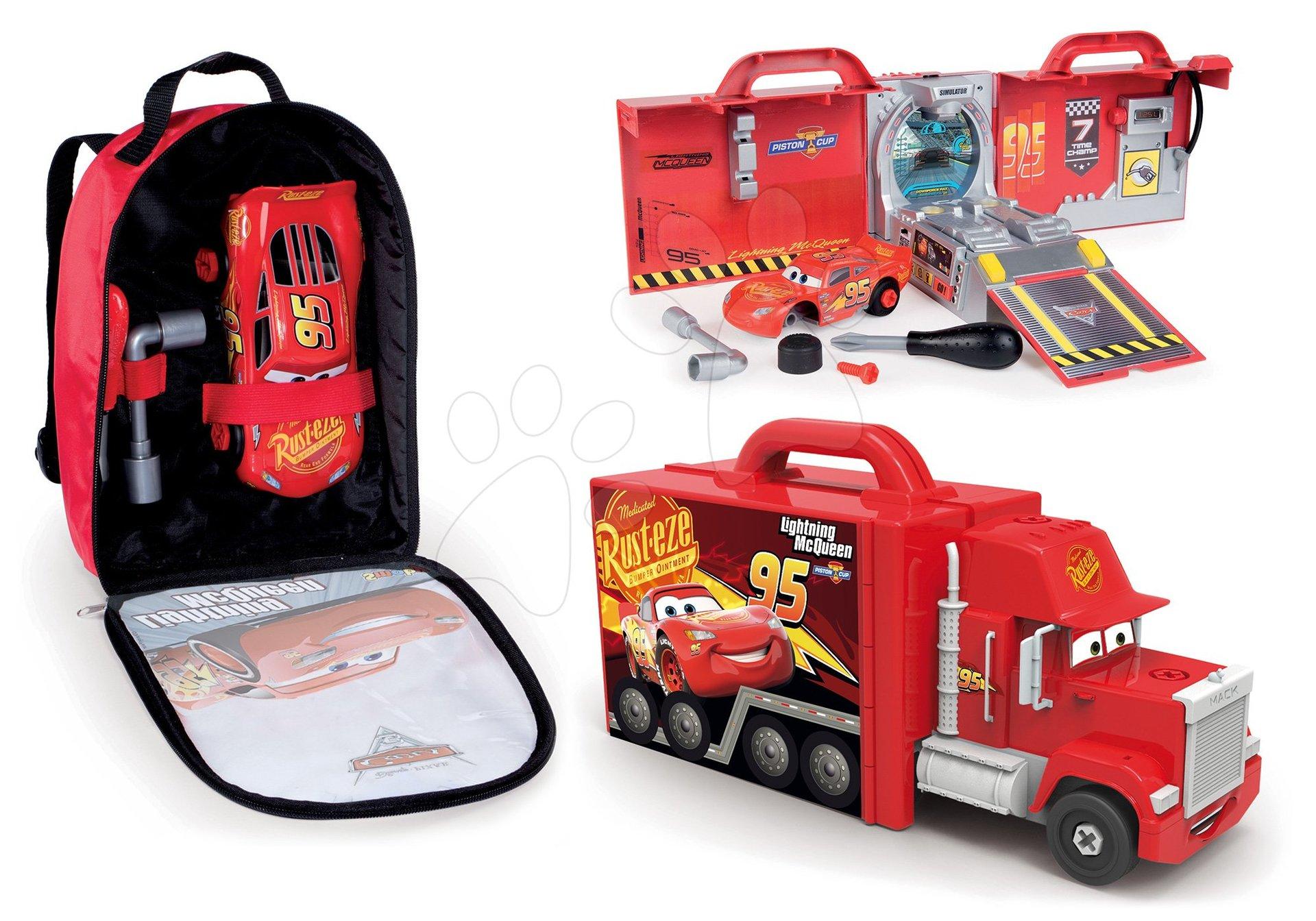 Smoby set kamión s autíčkom Mack Truck a batoh s náradím a autíčkom McQueen 360146-2