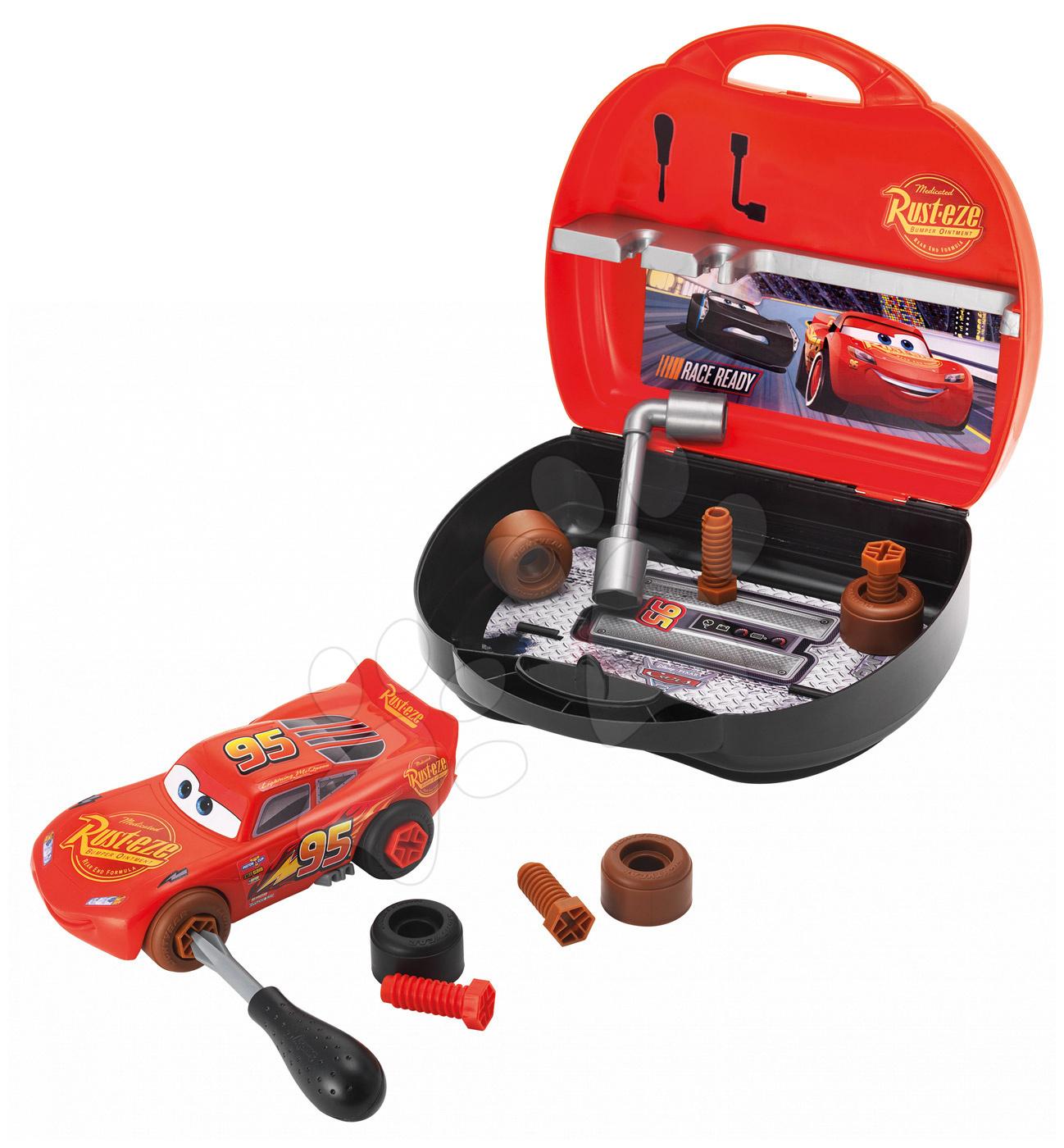 Kufřík s nářadím a skládací autíčko Smoby Auta 3 Customiz' s náhradními díly