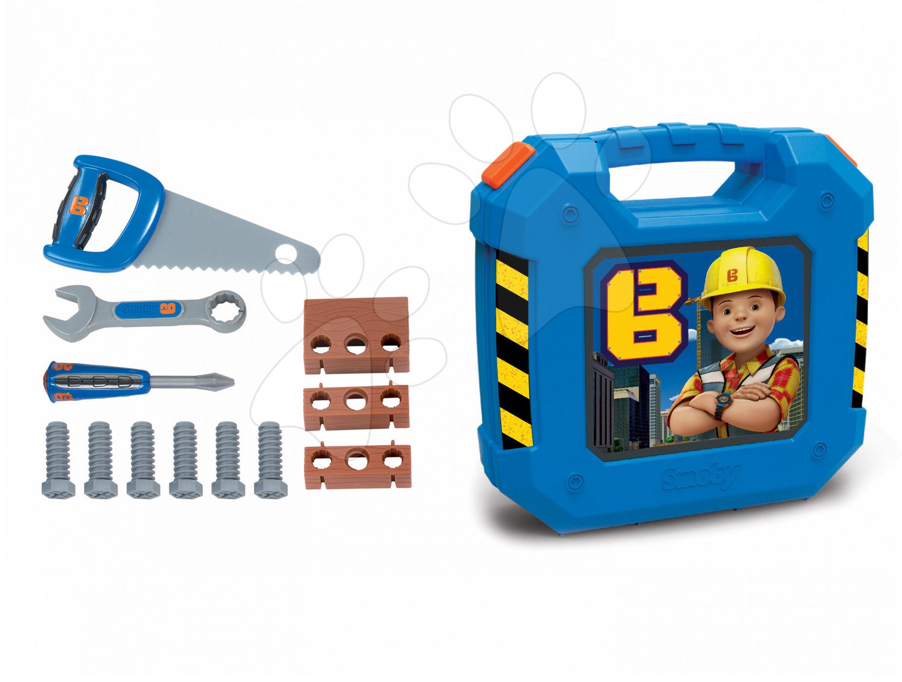 Kufrík s pracovným náradím Bob Staviteľ Smoby s 12 doplnkami modrý