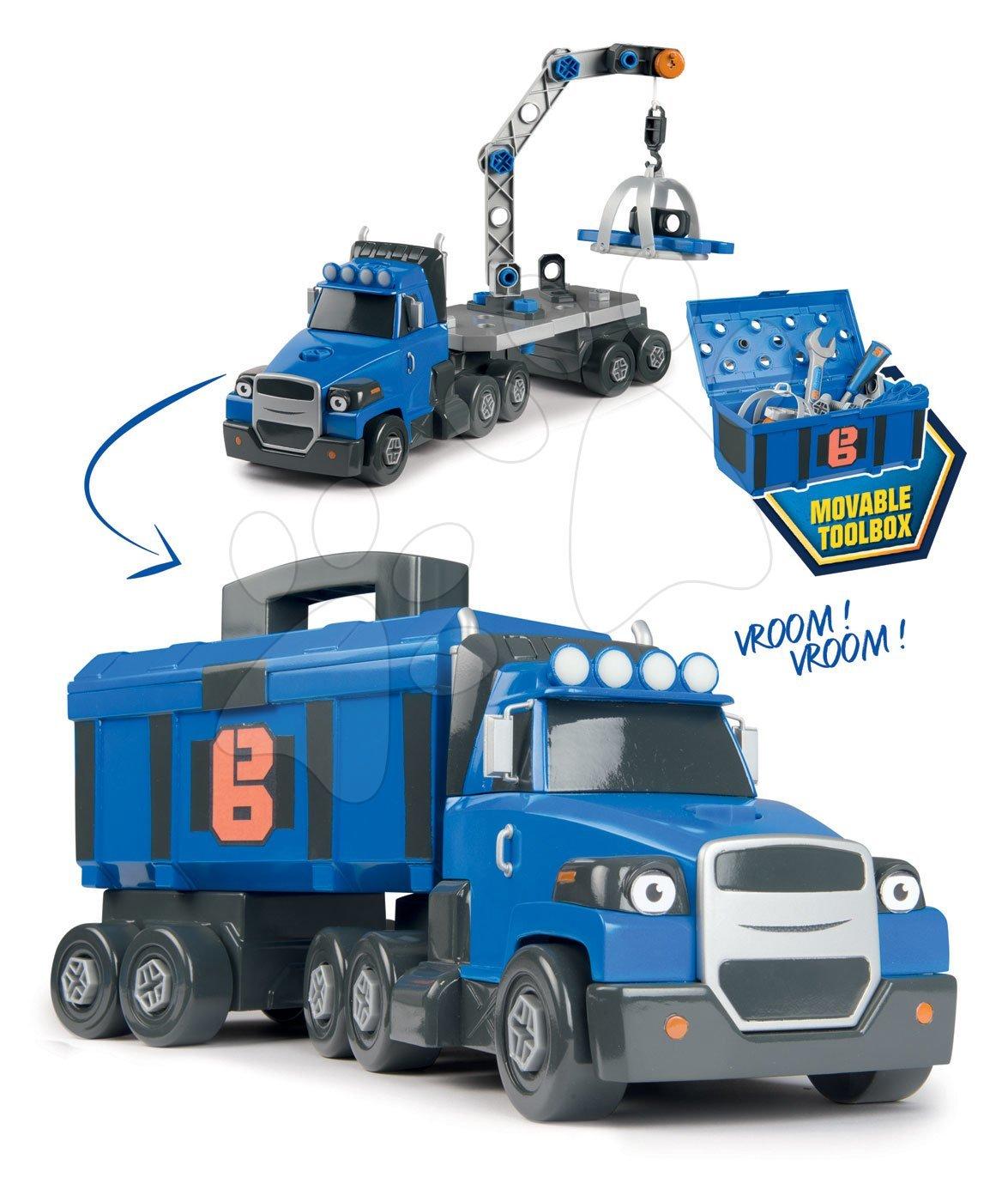 Kamión Bob Two Tons Truck Smoby so žeriavom a 60 doplnkami