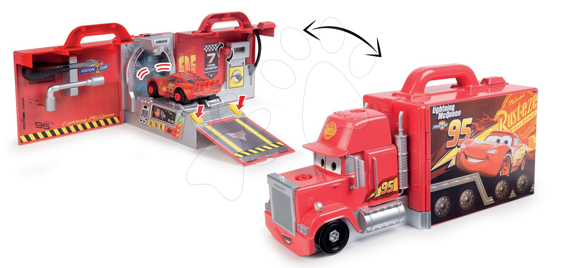Kamion Cars Mack Truck Simulator Smoby z zvokom in lučko in delovnim avtomobilčkom 39*16*20 cm