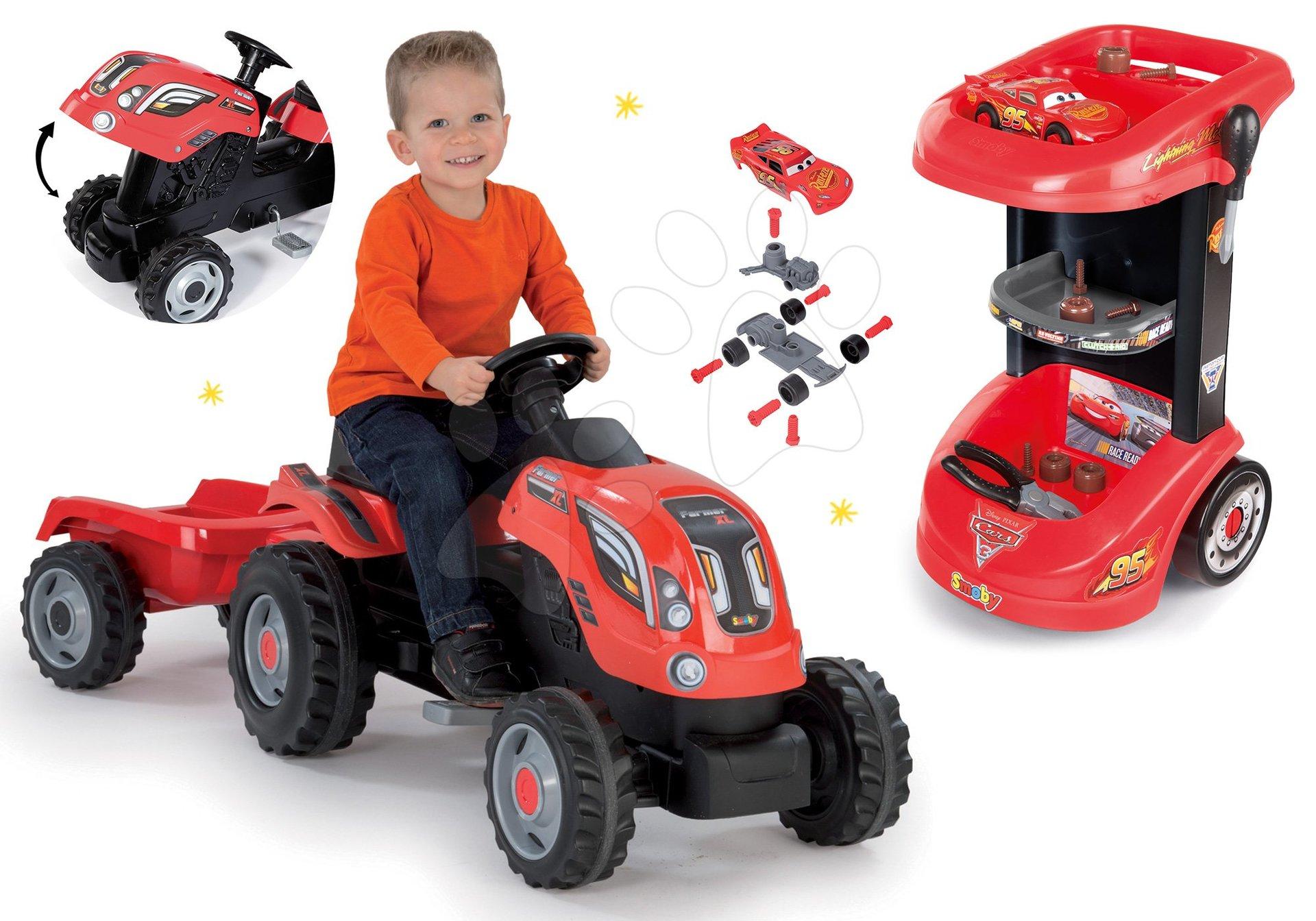 Smoby set pracovní stůl a traktor na šlapání s přívěsem 360209-4