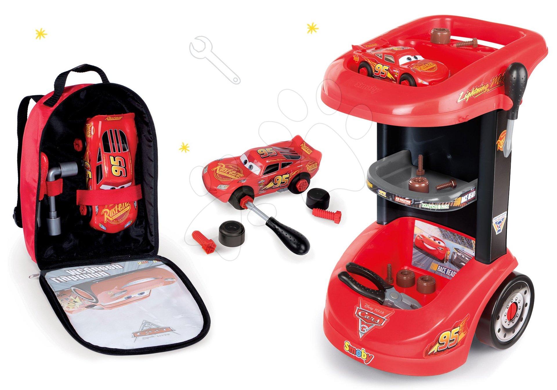 Smoby set pracovný stôl a batoh s náradím a autíčkom McQueen 360209-5