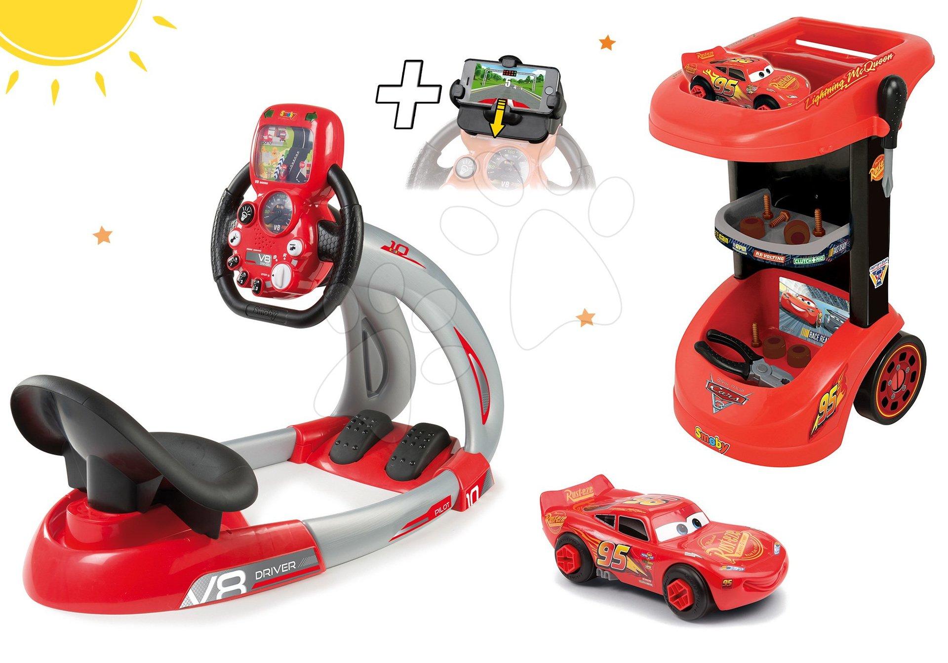 Detská dielňa sety - Set detský pracovný vozík Autá Smoby so skladacím autíčkom a elektronický trenažér V8 Driver