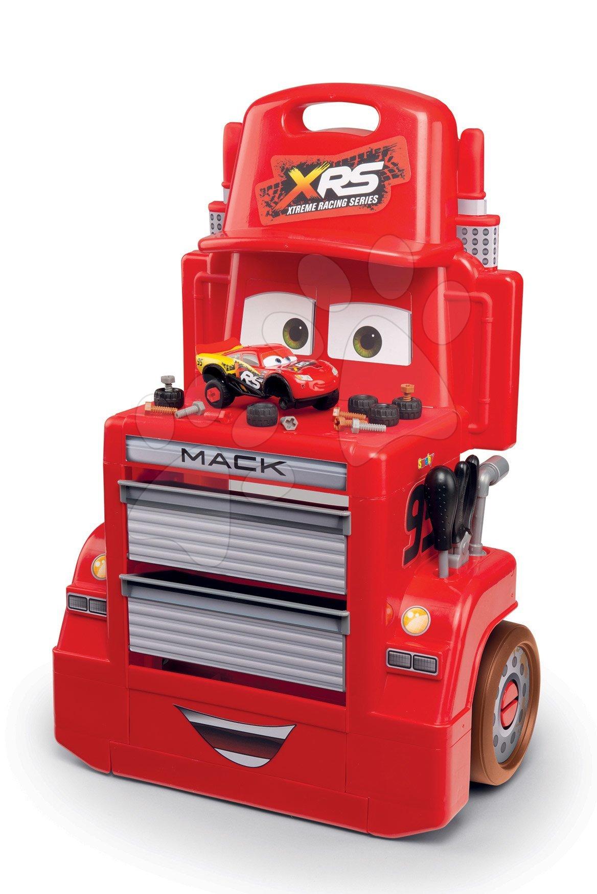 Atelier de lucru Mack Truck cu mașinuță Flash McQueen Cars XRS Smoby pe roți cu compartimente de depozitare și 28 de accesorii