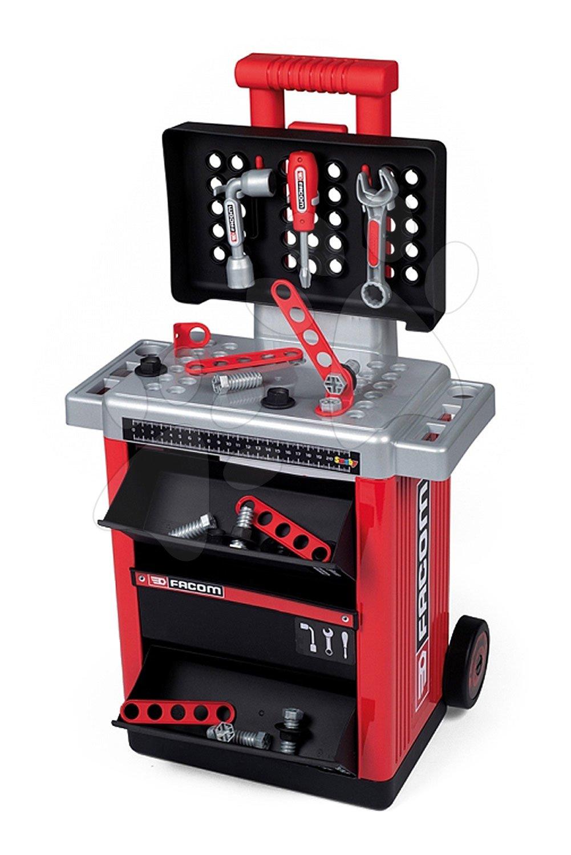 Pracovní stolek Facom Workshop Cart Smoby na kolečkách s 31 doplňky