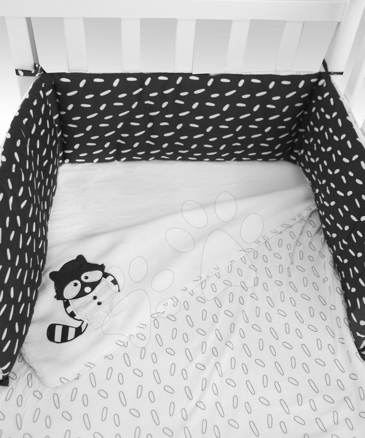 Set za posteljico Rakun Bamboo Black&White toTs-smarTrike odejo, rjuha in gnezdo 70% bambus svila in 30 % bombaža