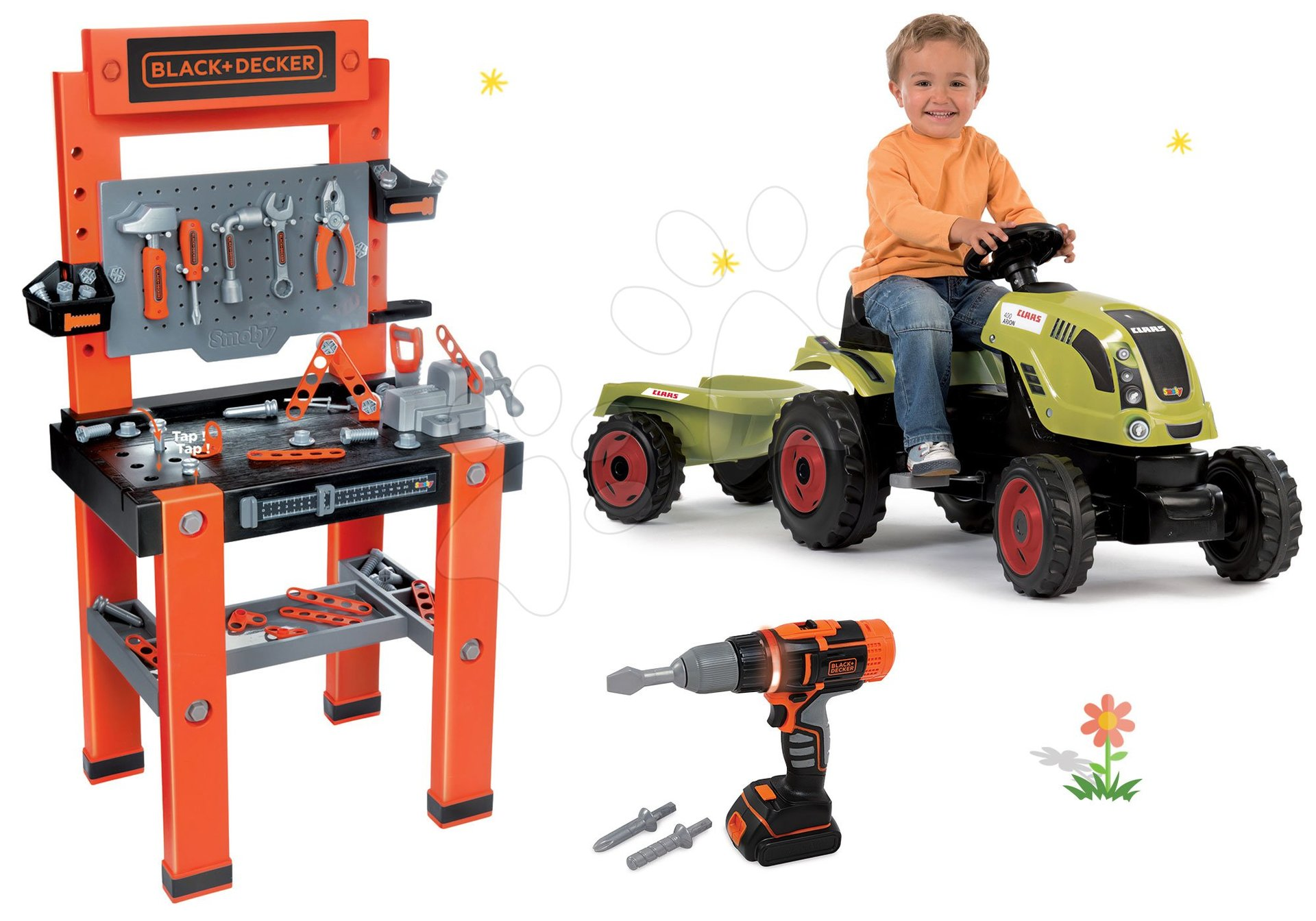 Set pracovní dílna Black+Decker Smoby šlapací traktor a vrtačka se zvukem