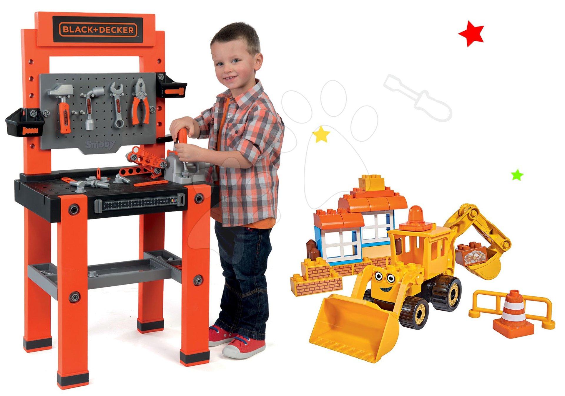 Smoby set pracovná dielňa Black+Decker so 79 doplnkami a stavebnica Staviteľ Bob stroj s nakladačom a bagrom 360700-10