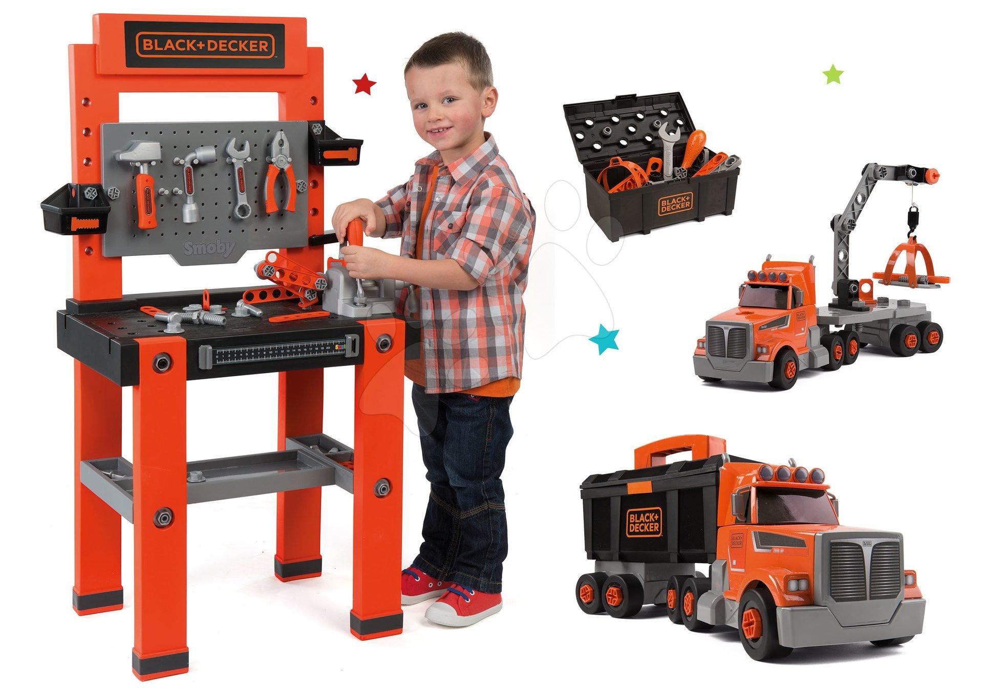 Set pracovní dílna Black+Decker Smoby so 79 doplňky a kamion s pracovním kufříkem a nářadím