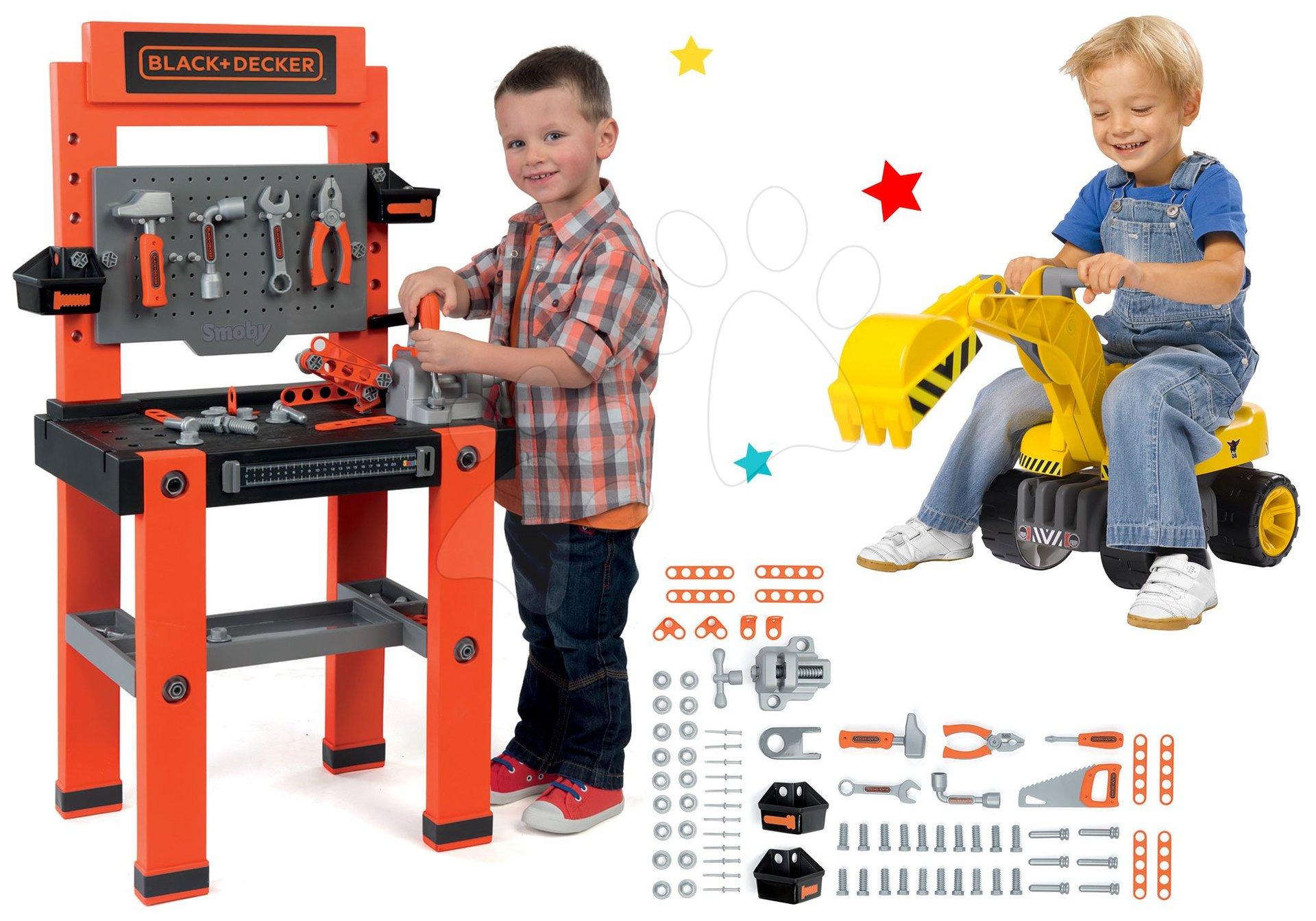 Smoby set pracovná dielňa Black+Decker so 79 doplnkami a bager Maxi Power so sedadlom 360700-6