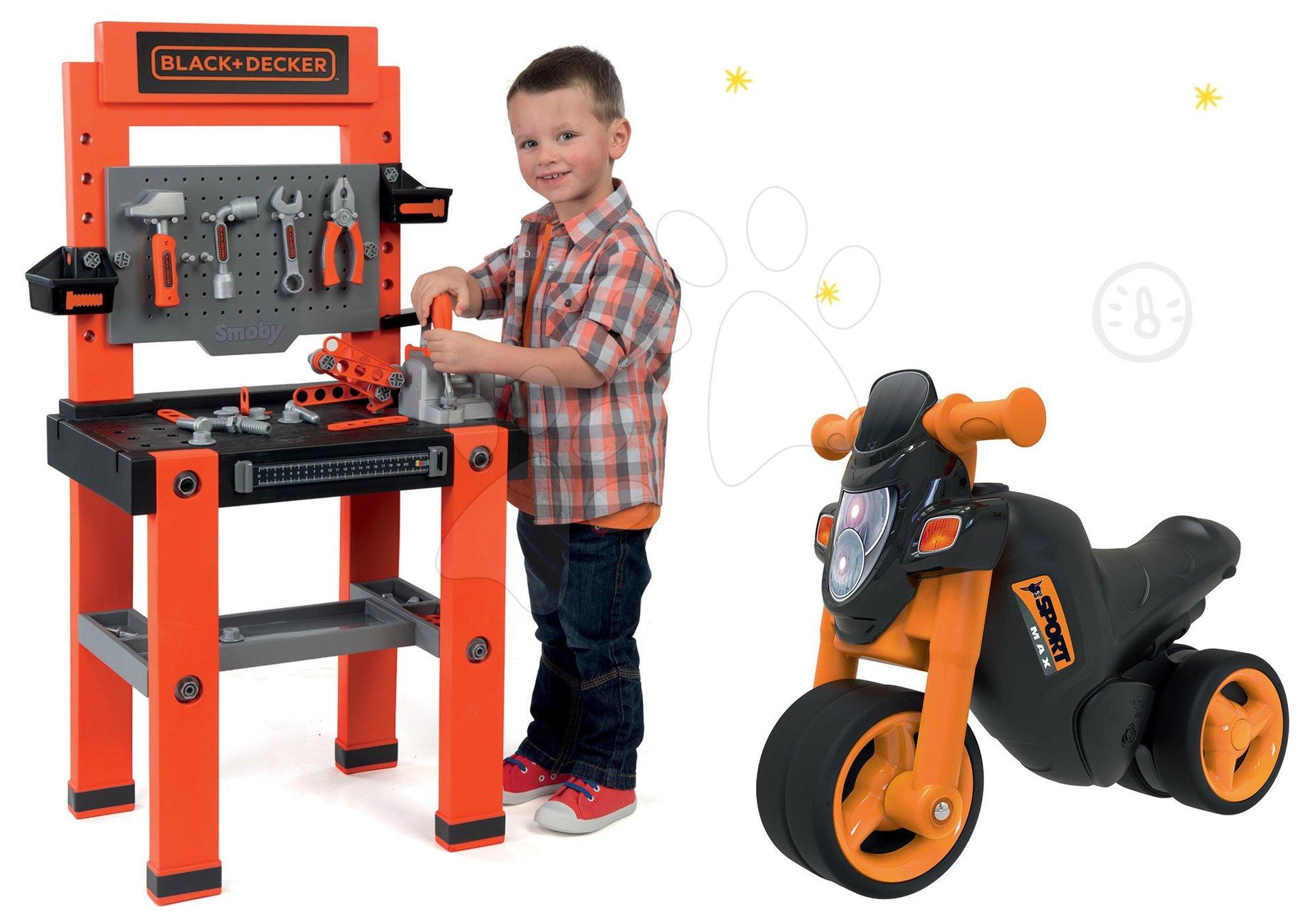 Dětská dílna sety - Set pracovní dílna Black+Decker Smoby se 79 doplňky a odrážedlo motorka Sport Bike s elektronickým klaksonem