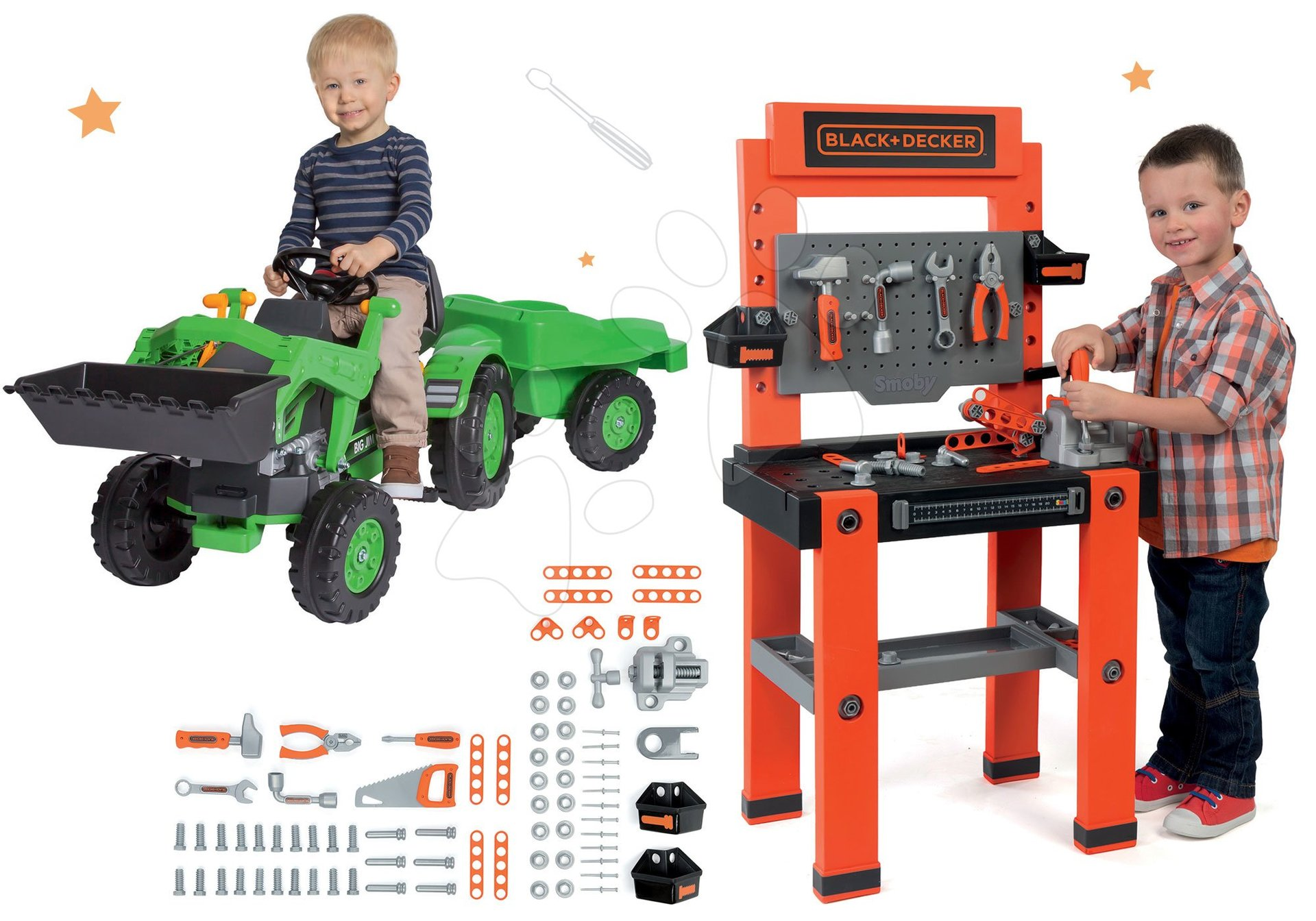 Smoby set pracovná dielňa Blac+Decker so 79 doplnkami a traktor na šliapanie Jim Loader s nakladačom a prívesom 3608700-9