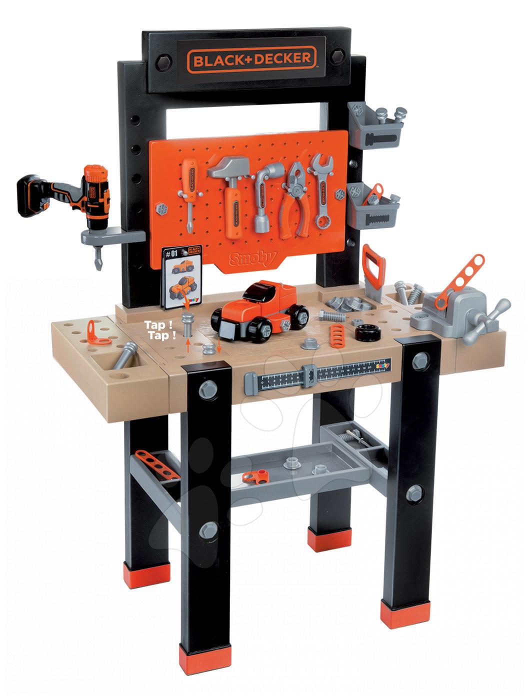 Bancă de lucru Black+Decker Smoby cu maşină mecanică de găurit, maşinuţă asamblabilă şi 92 de accesorii