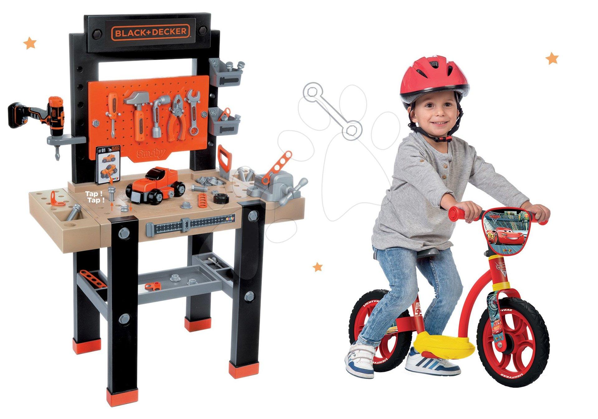 Smoby pracovná dielňa pre deti Black+Decker a odrážadlo Autá 360701-10