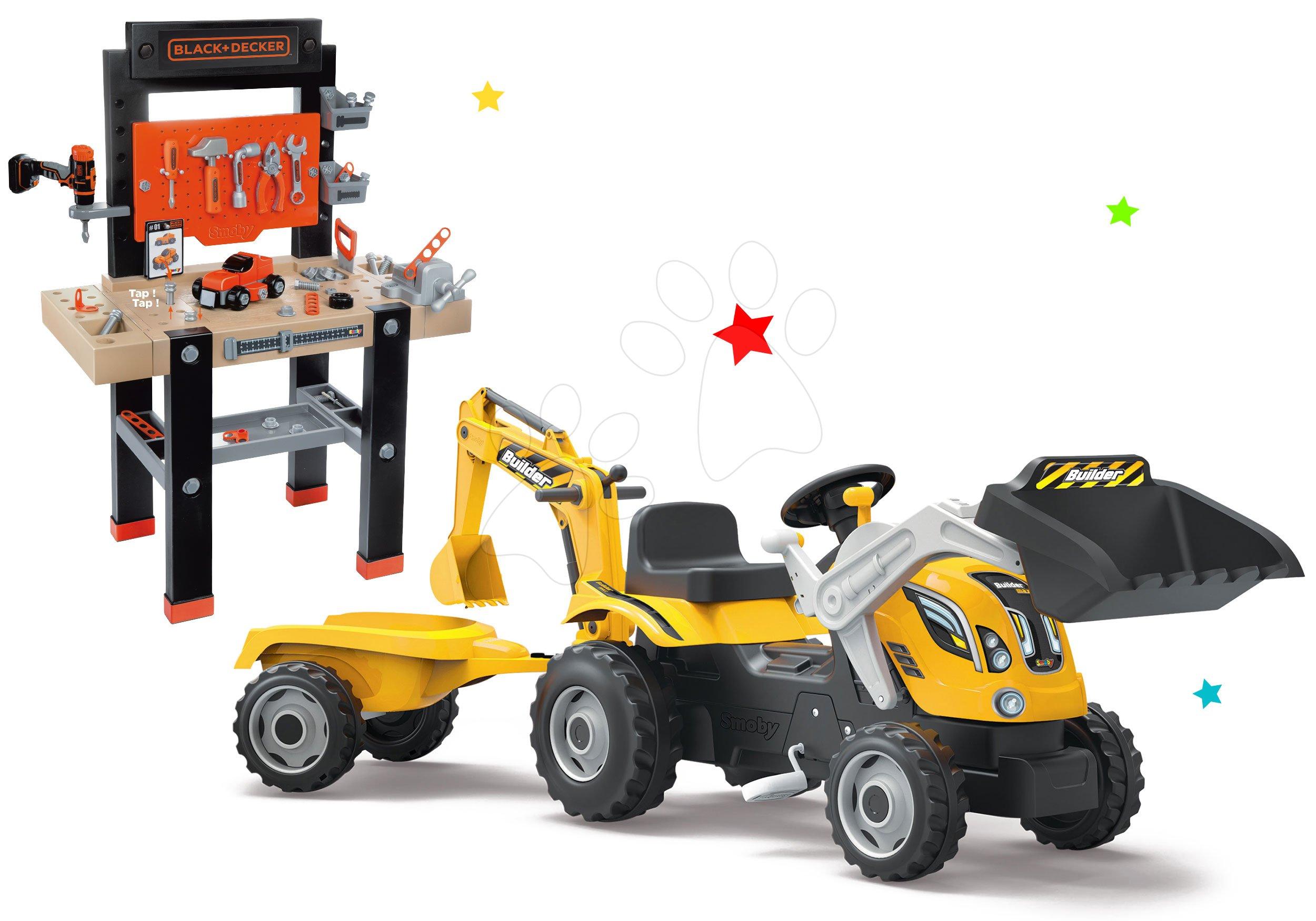 Detská dielňa sety - Set pracovná dielňa Black+Decker Smoby s vŕtačkou a traktor Power Builder Max s prívesom a bagrom