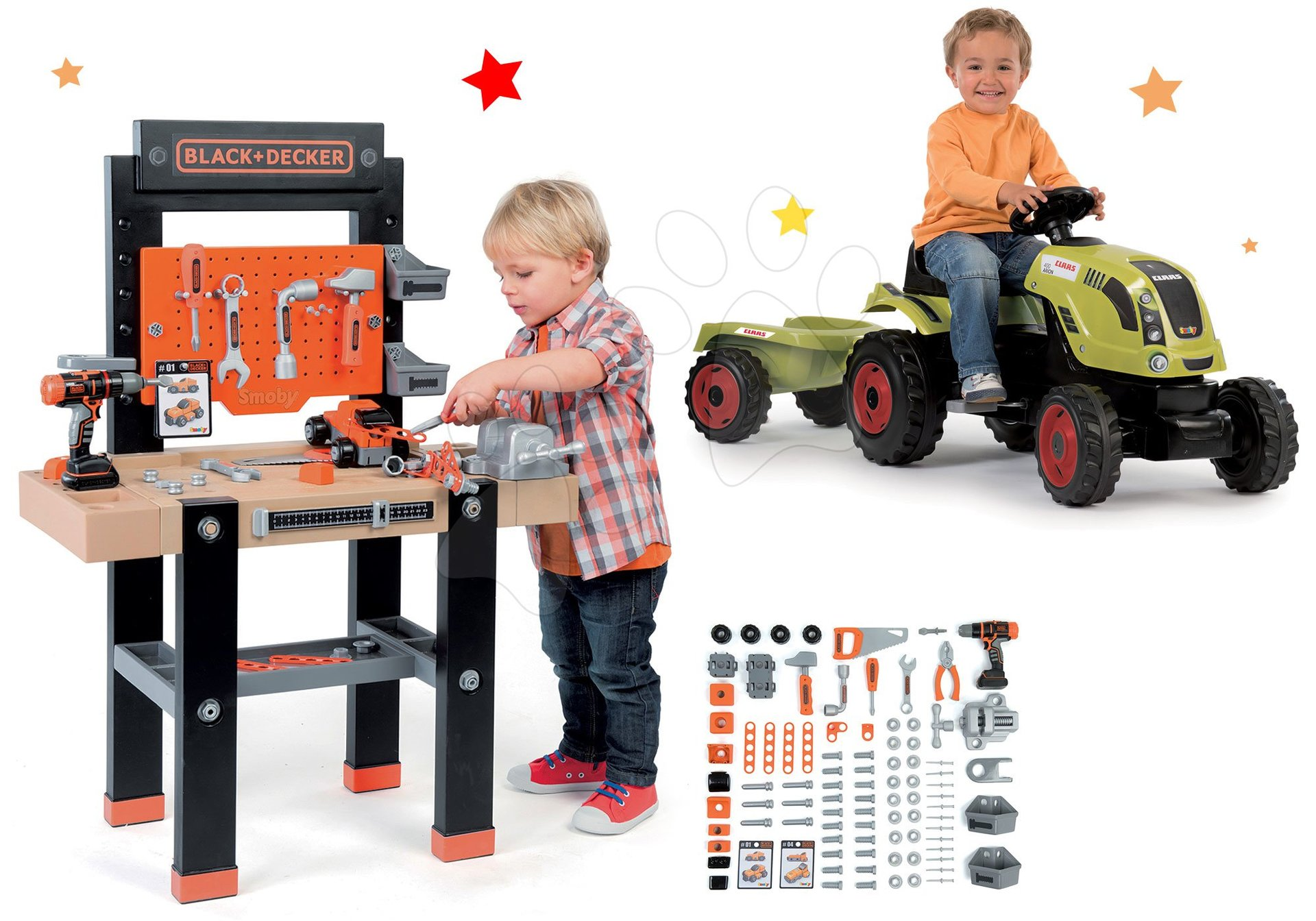Set pracovní dílna Black+Decker Smoby s vrtačkou a traktor Claas GM s přívěsem