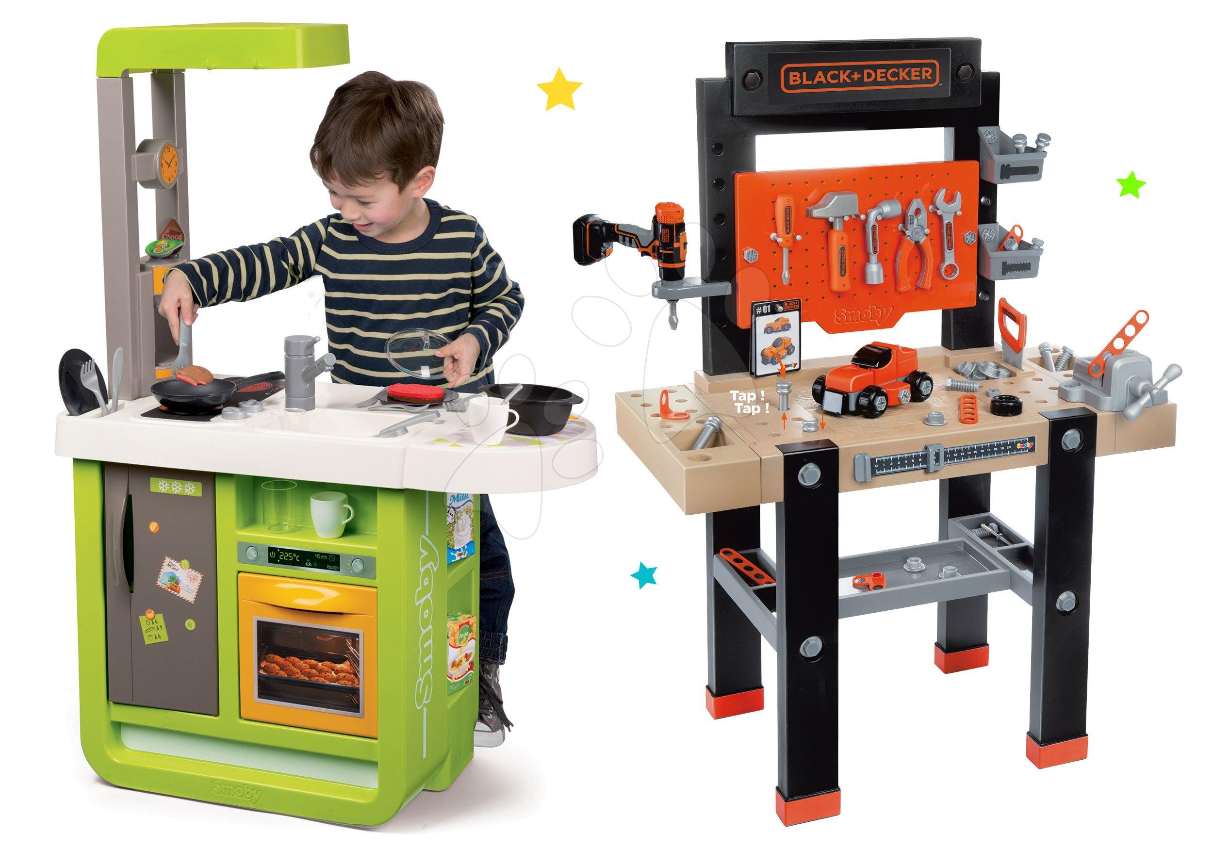 Smoby pracovná dielňa pre deti Black+Decker a kuchynka Cherry Kitchen 360701-15