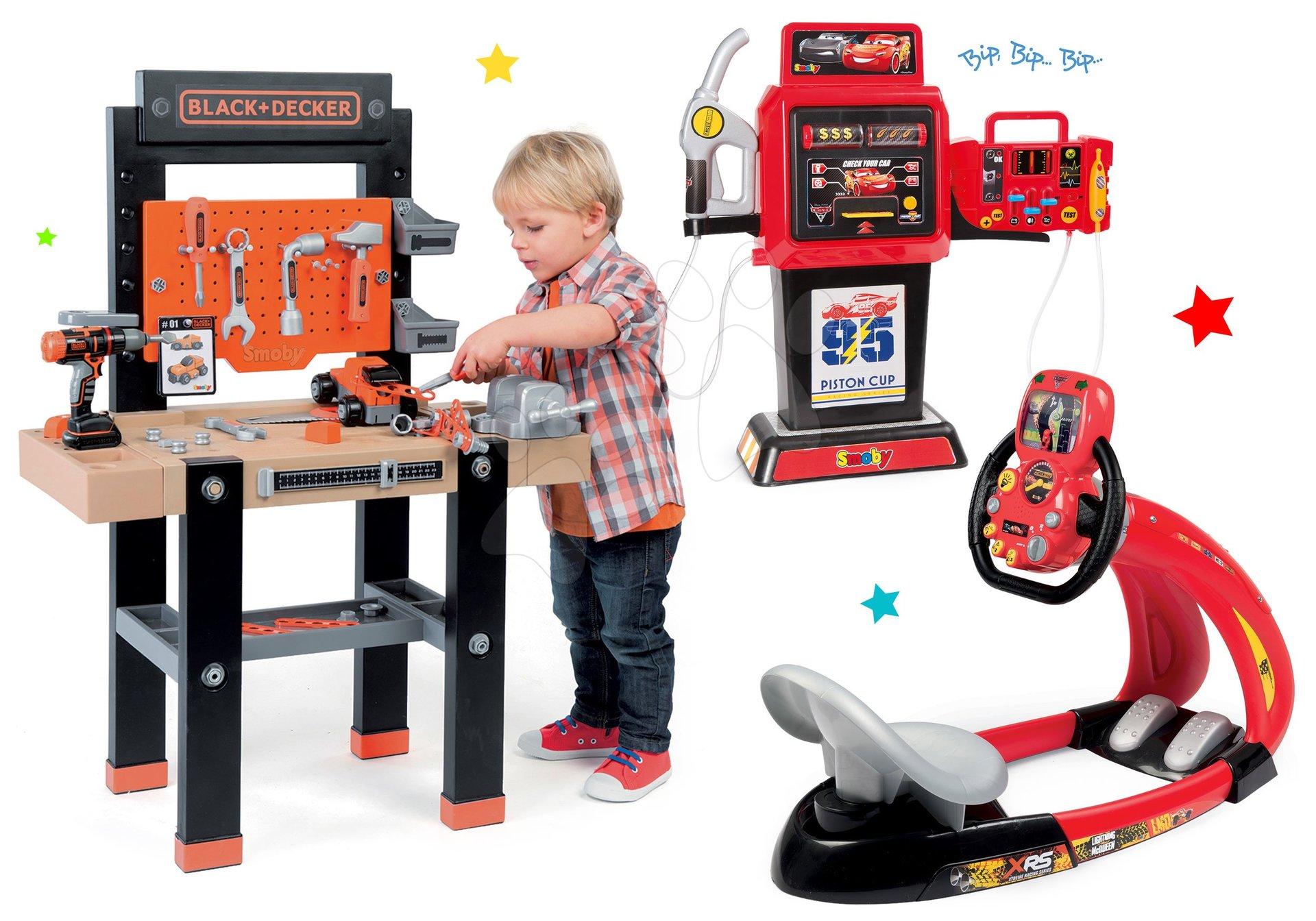 Detská dielňa sety - Set pracovná dielňa Black+Decker Smoby s vŕtačkou a elektronický trenažér Autá V8 Driver a benzínová pumpa