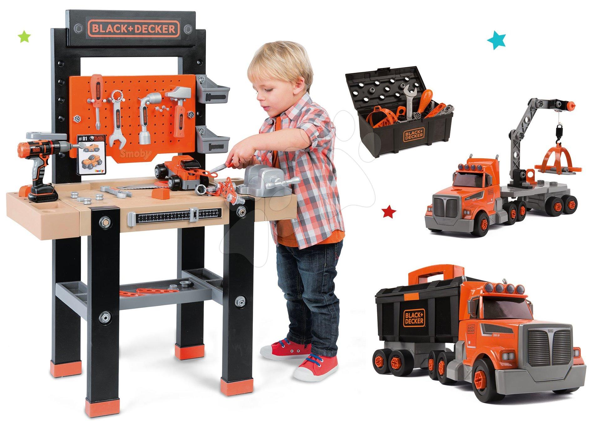 Dětská dílna sety - Dětská pracovní dílna s vrtačkou Black+Decker Smoby a kamion s pracovním kufříkem a nářadím