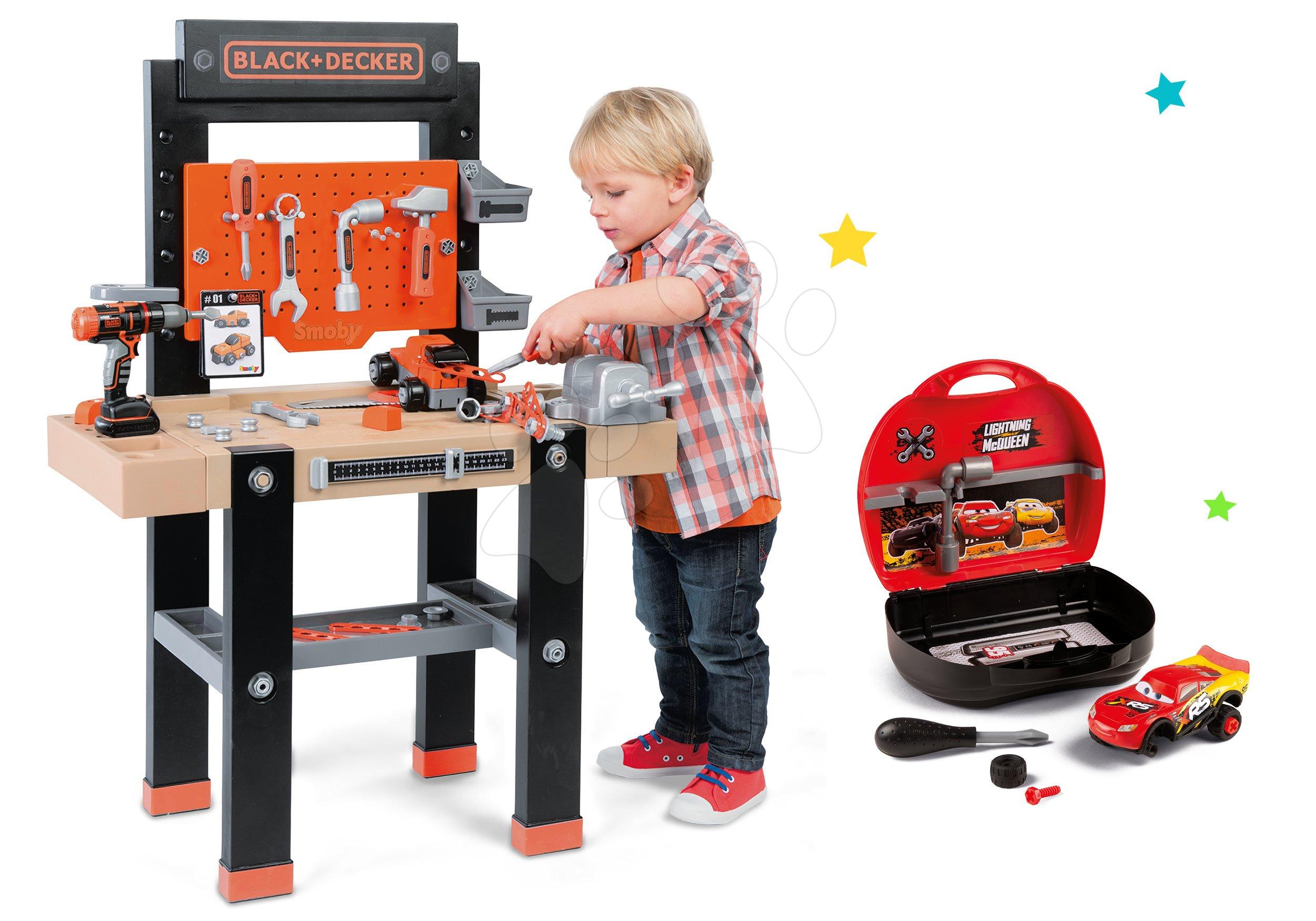 Detská dielňa sety - Set pracovná dielňa Black+Decker Smoby s vŕtačkou a autoservis Autá Ice s autíčkom McQueen v kufríku