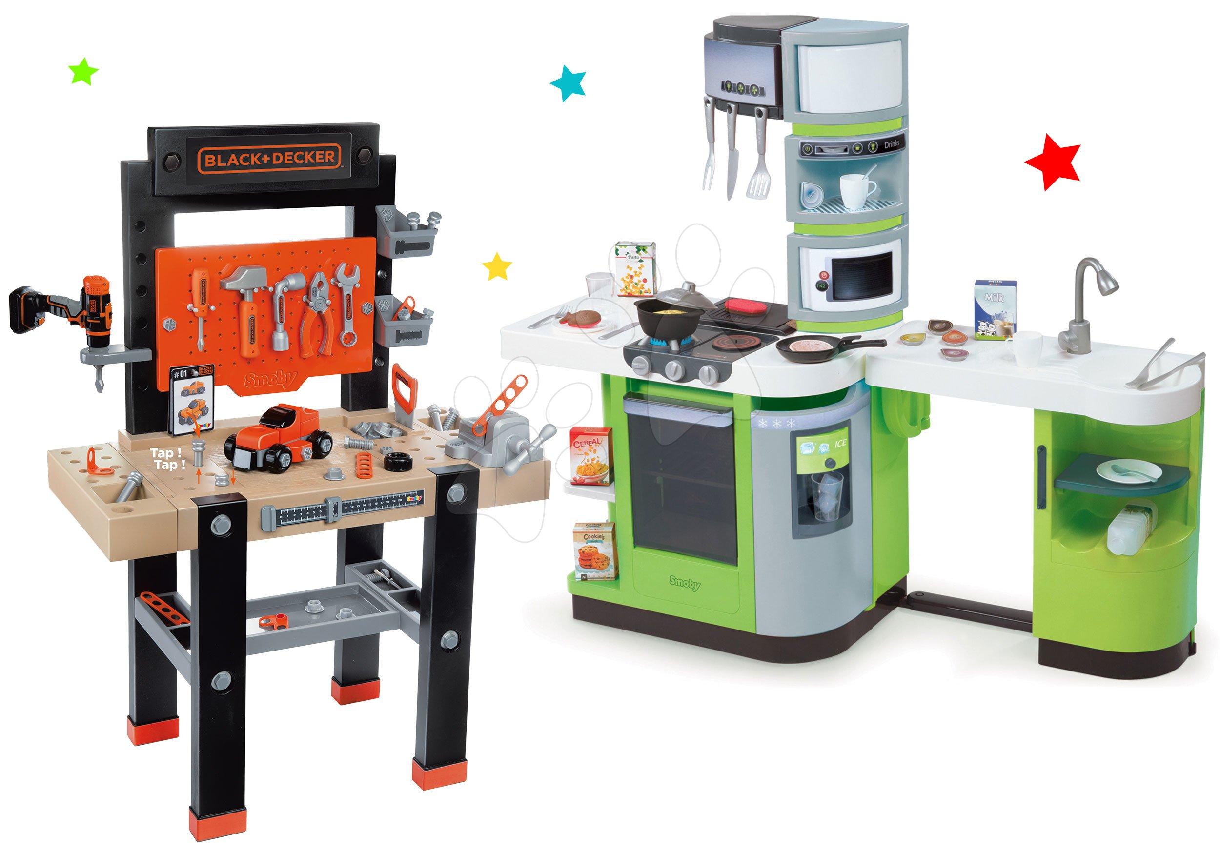 Detská dielňa sety - Set dielňa s vŕtačkou Black+Decker Smoby a kuchynka CookMaster Verte elektronická s kávovarom