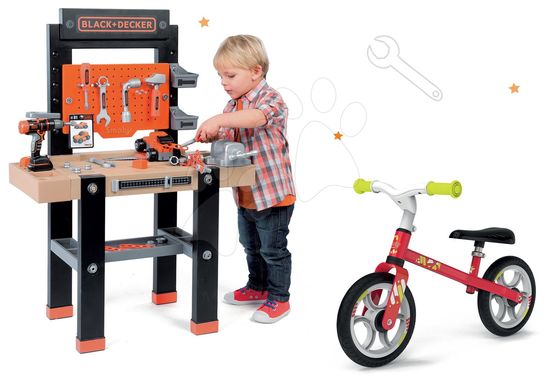 Smoby pracovní dílna pro děti Black+Decker a odrážedlo First Bike 360701-6