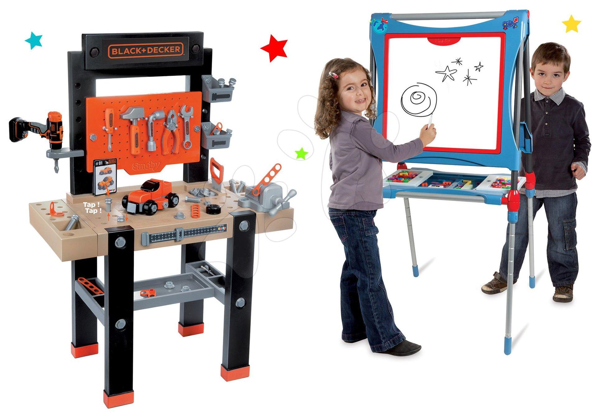 Set pracovní dílna Black+Decker s vrtačkou Smoby a magnetická oboustranná tabule polohovatelná se skřinkou