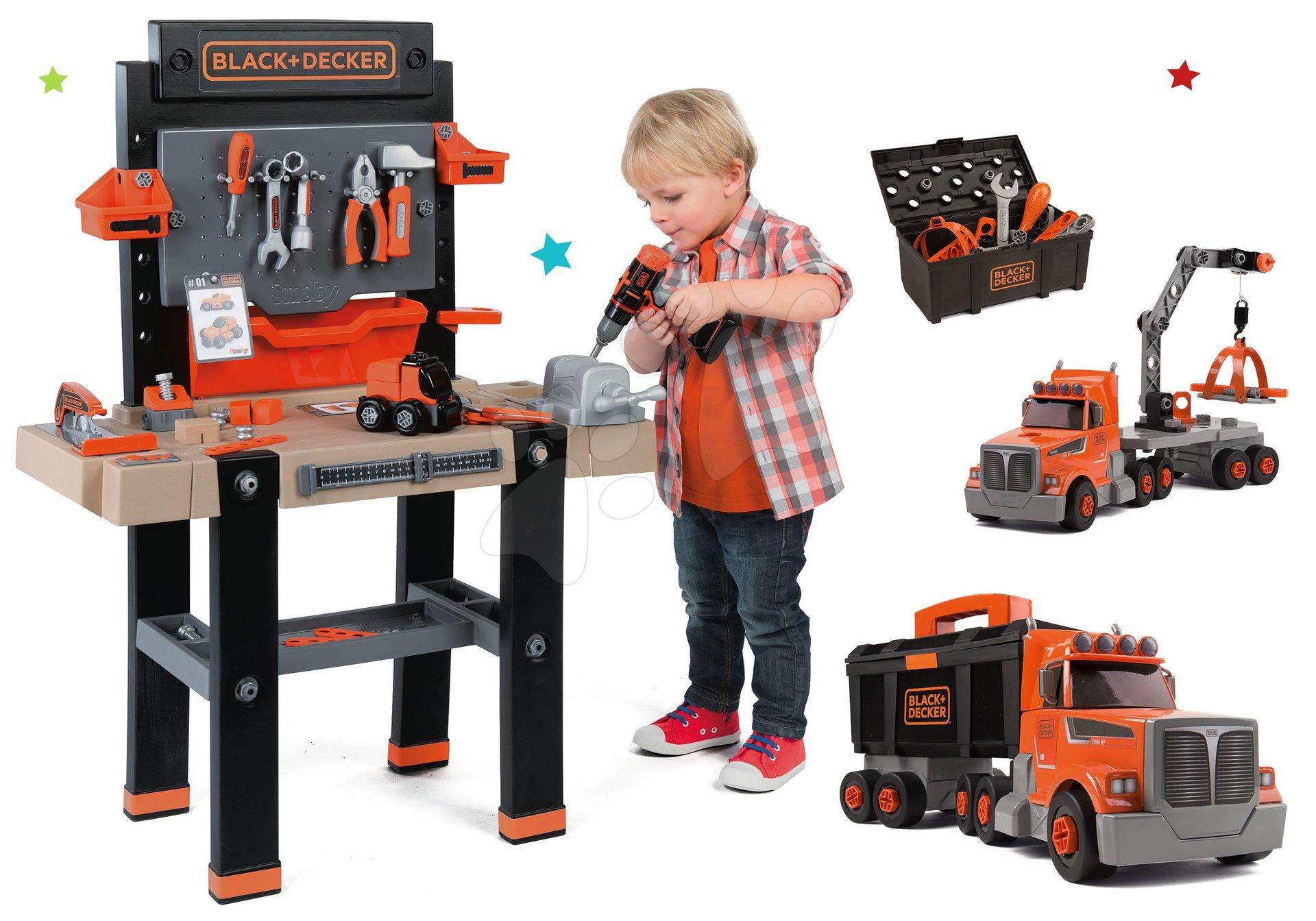 Dětská dílna sety - Dětská elektronická pracovní dílna Black+Decker s 95 doplňky a kamion s pracovním kufříkem a nářadím