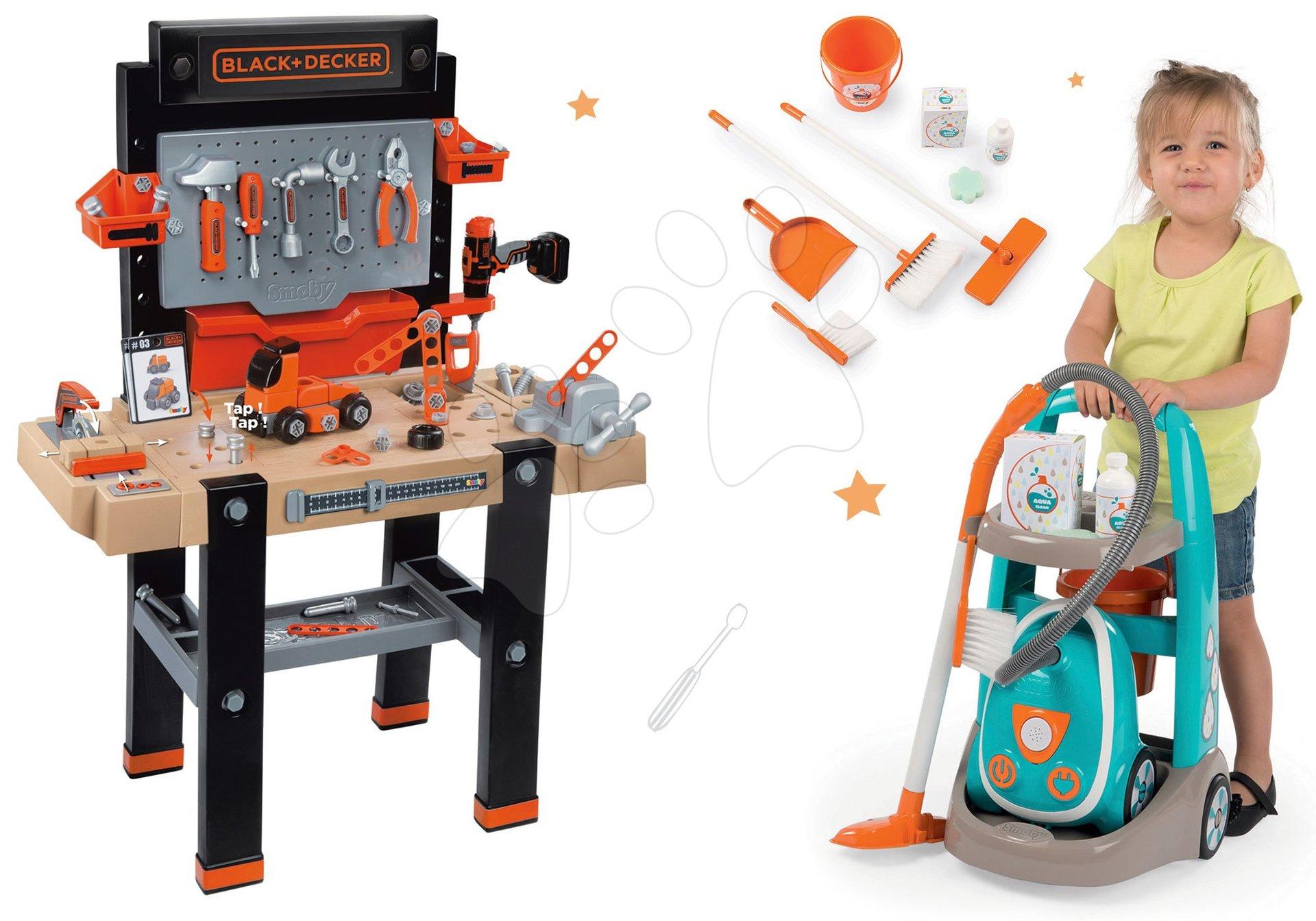 Dětská dílna sety - Set pracovní dílna Black&Decker Smoby elektronická a úklidový vozík s elektronickým vysavačem