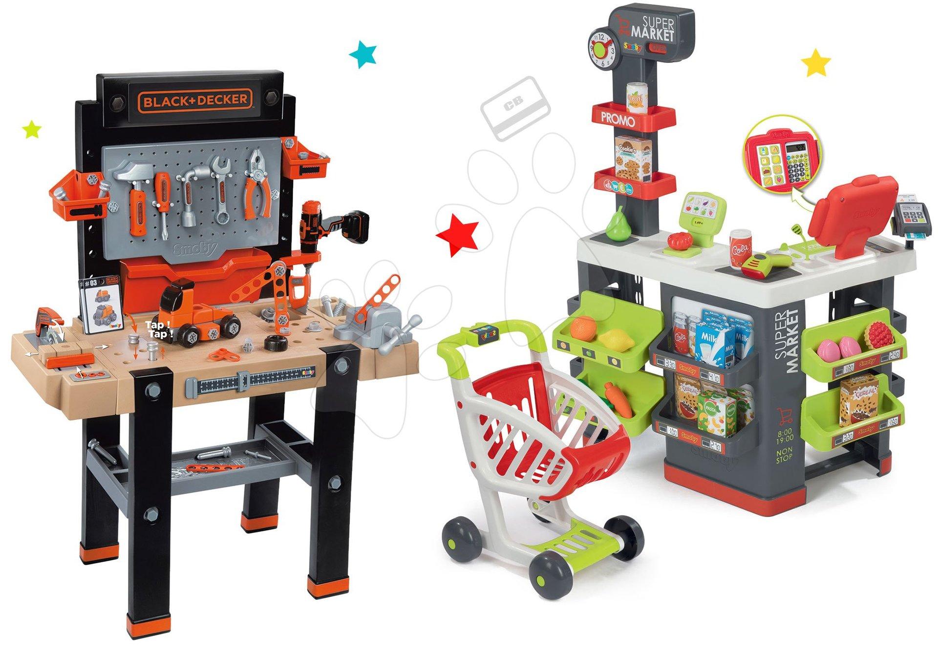 Smoby set dielňa Black+Decker a obchod Supermarket 360702-7