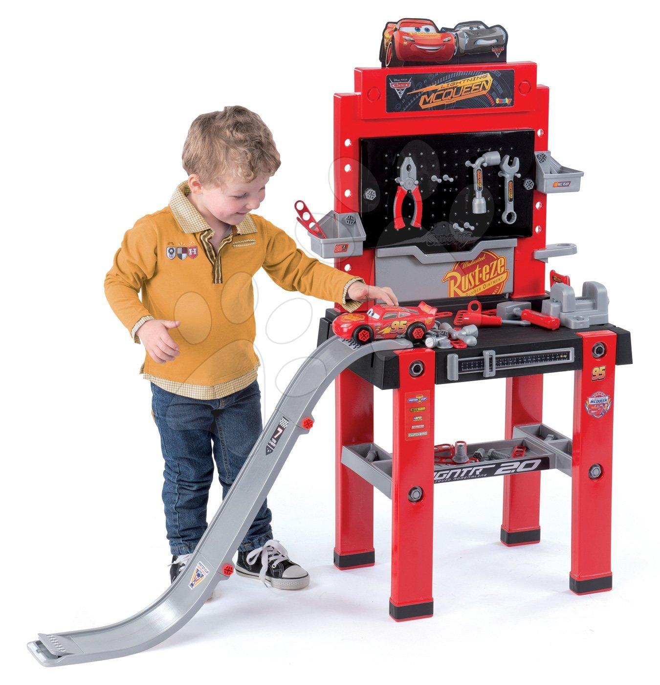 Radionica Auti 3 Bricolo center Smoby s rampom za skokove, autićem na sastavljanje i 94 dodatka