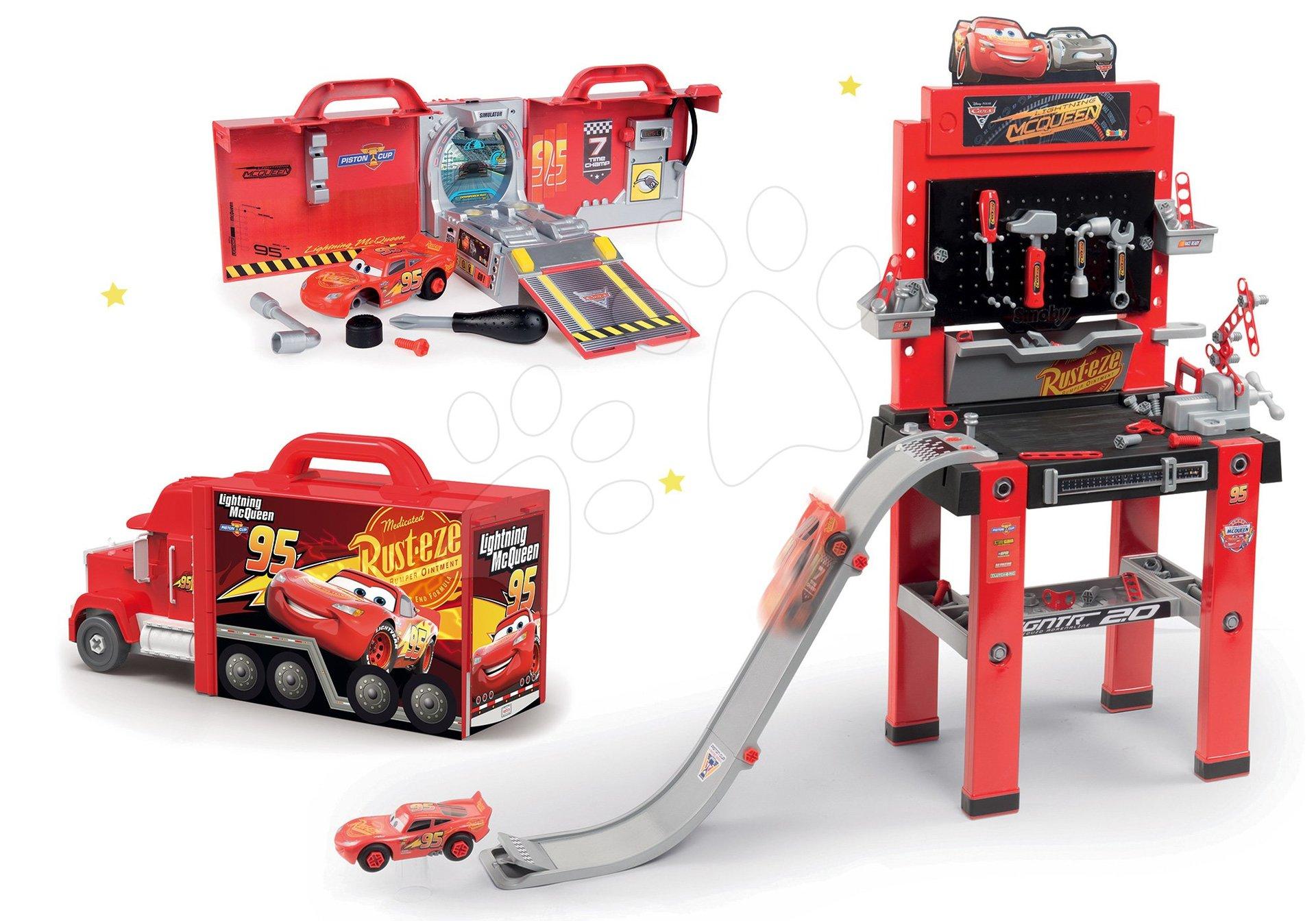 Set atelier pentru asamblări cu rampă de lansare Maşini 3 Smoby și camion electronic Mack Truck