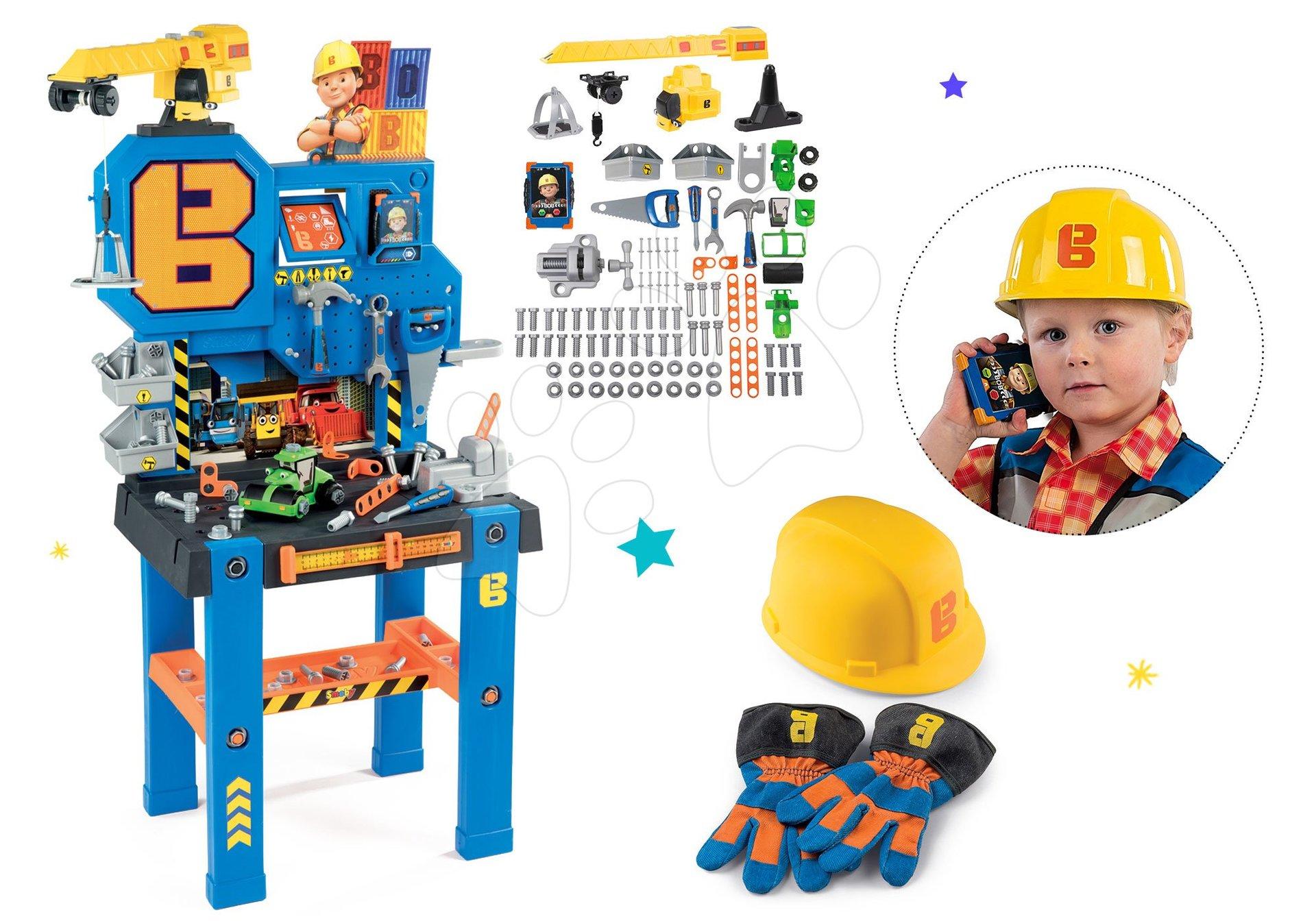 Set pracovný stôl Bricolo Center Bob the Builder Smoby so žeriavom a rukavice s helmou