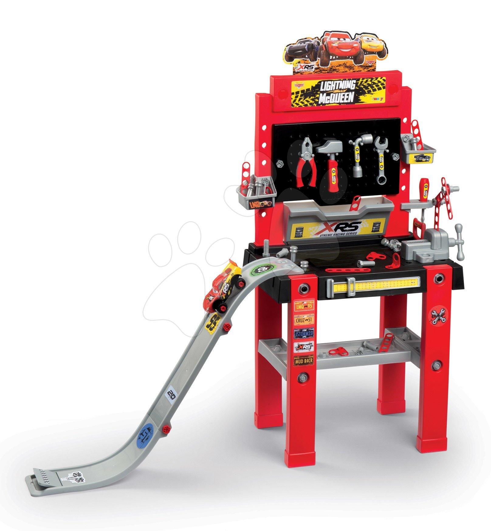 Atelier de lucru cu mașinuță de lansare Flash McQueen Cars XRS Smoby cu rampă și 94 de accesorii