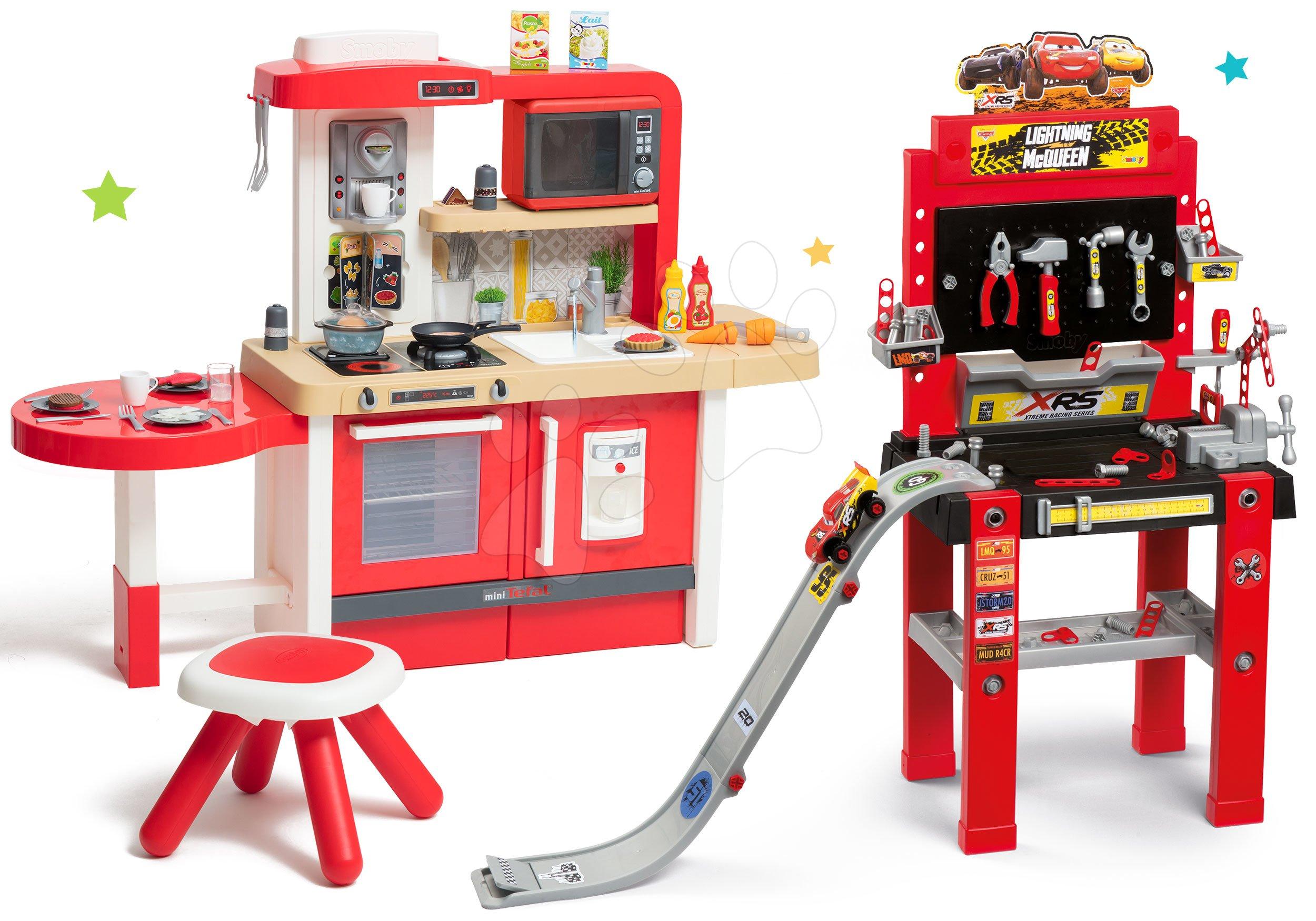 Set pracovná dielňa so skákajúcou rampou Cars 3 Smoby a kuchynka Tefal Evolutive Grand Chef s mikrovlnkou a stolčekom