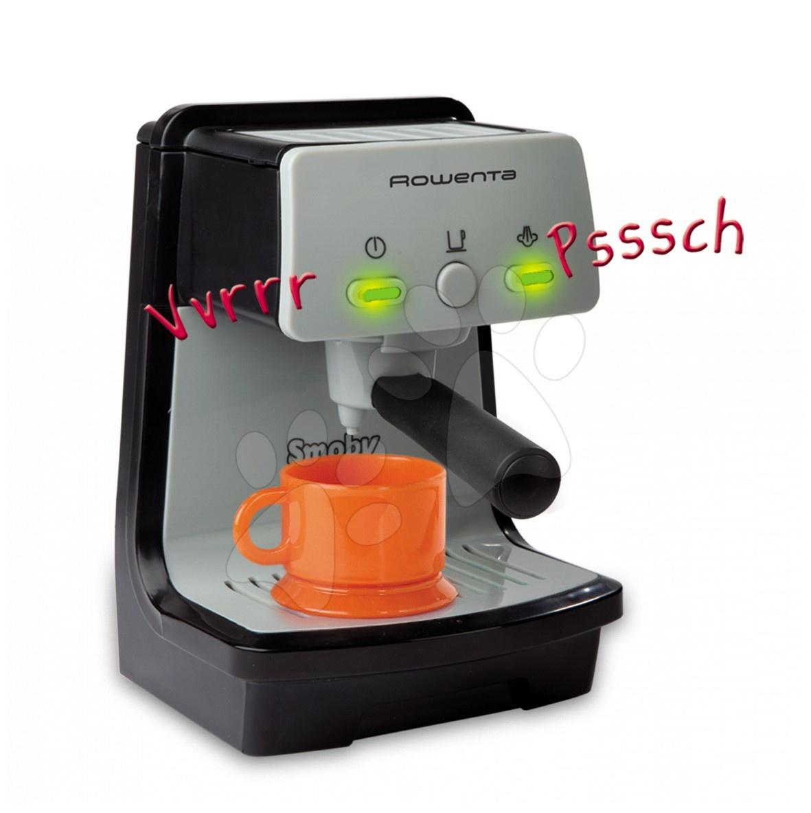 Strieborný kávovar Espresso Rowenta Smoby so zvukmi a svetlom