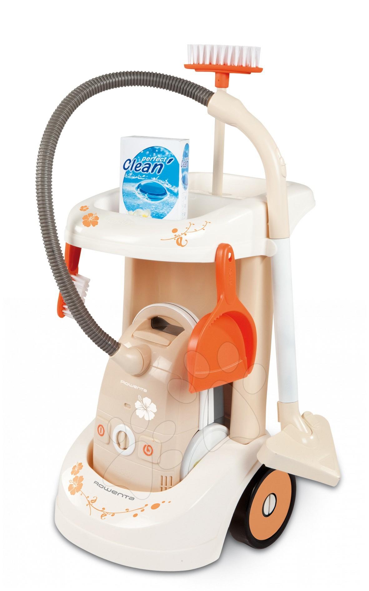 Staré položky - Upratovací vozík Rowenta Smoby s elektrickým vysávačom a 4 doplnkami béžový