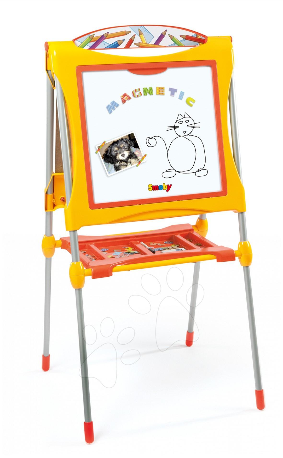 Staré položky - Tabuľa Smoby magnetická, obojstranná s poličkou, kovovou konštrukciou a 60 doplnkami žlto-oranžová