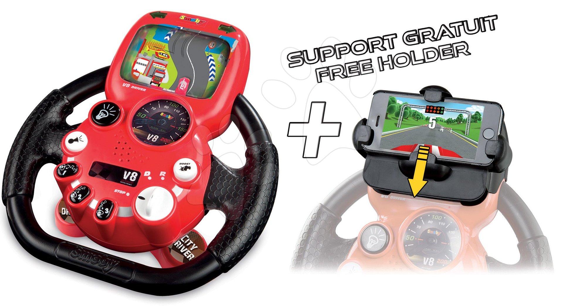 Trenažér pre deti - Elektronický volant City Driver Smoby so zvukom, svetlom a nadstavcom