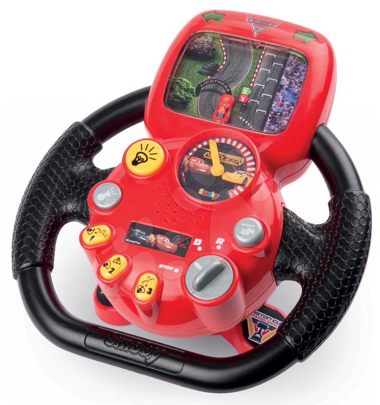 Trenažér Autá 3 Smoby V8 Driver elektronický volant so zvukom a svetlom