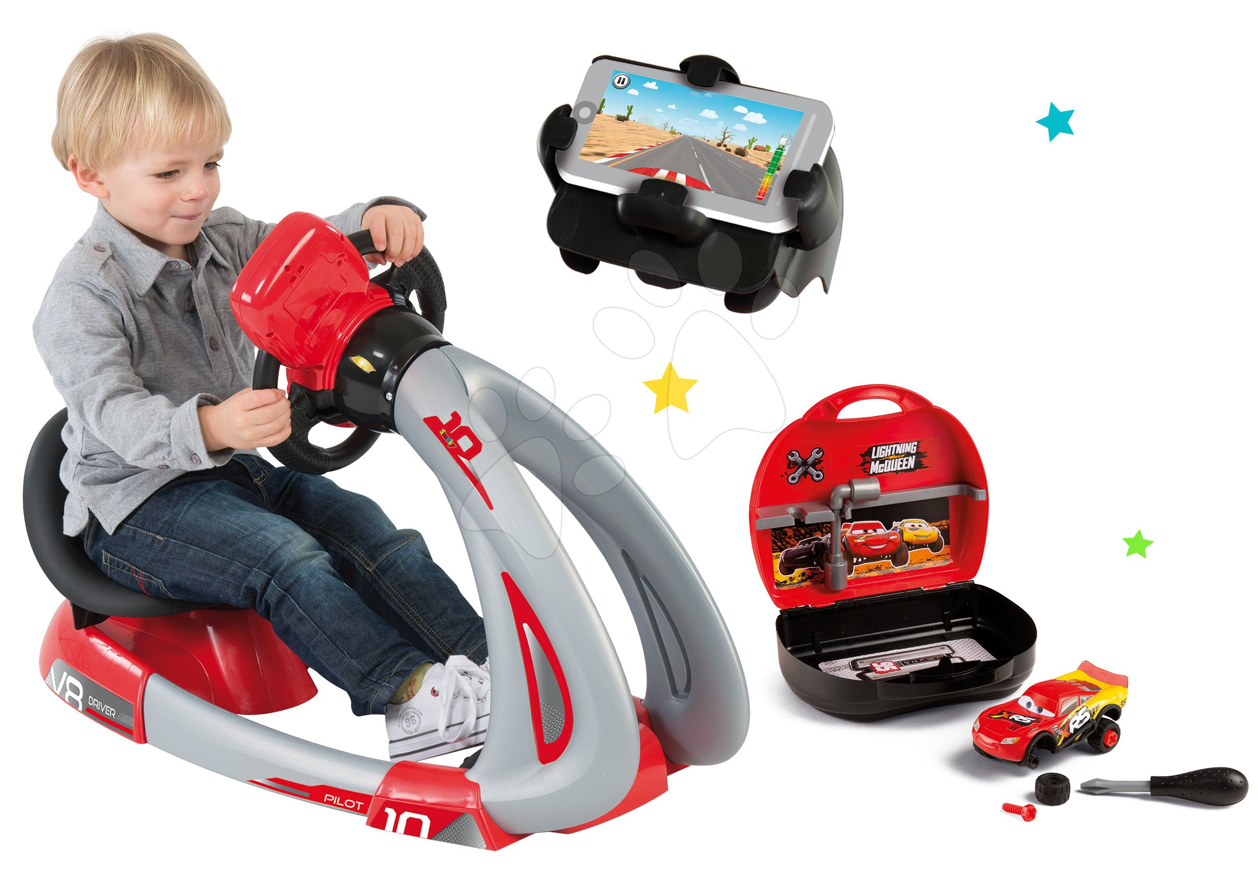 Smoby dětský elektronický trenažér V8 Driver a autoservis s autem McQueen 370206-1