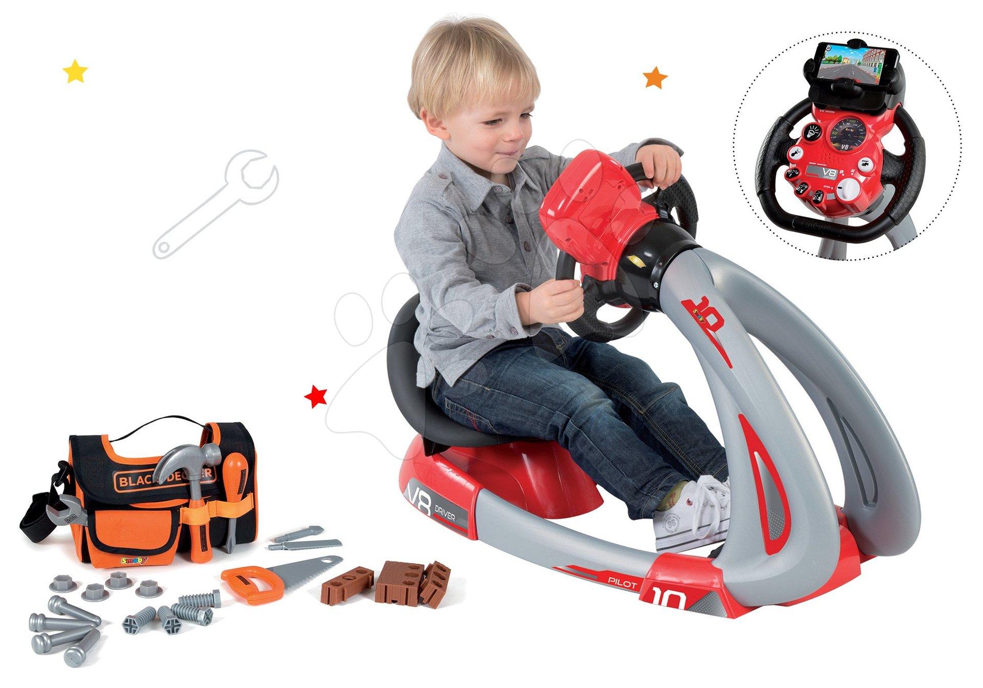 Smoby detský elektronický trenažér V8 Driver a pracovné náradie Black+Decker 370206-6