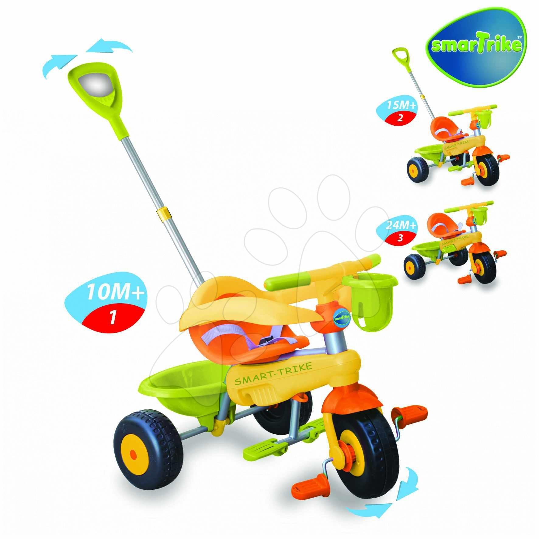 Tříkolky od 15 měsíců - Tříkolka Lollipop smarTrike oranžovo zelená se zvonkem